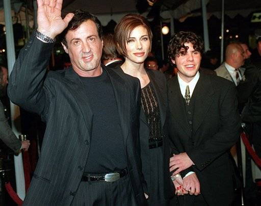 "Sylvester Stallone, left, star of the film ""Daylight,"" arrives at the film's world premiere with his girlfriend Jennifer Flavin, center, and his son Sage Stallone, who co-stars in the film, in Hollywood district of Los Angeles. A publicist for Sylvester Stallone says the actor's son, Sage Stallone has died on Friday, July 13, at age 36."