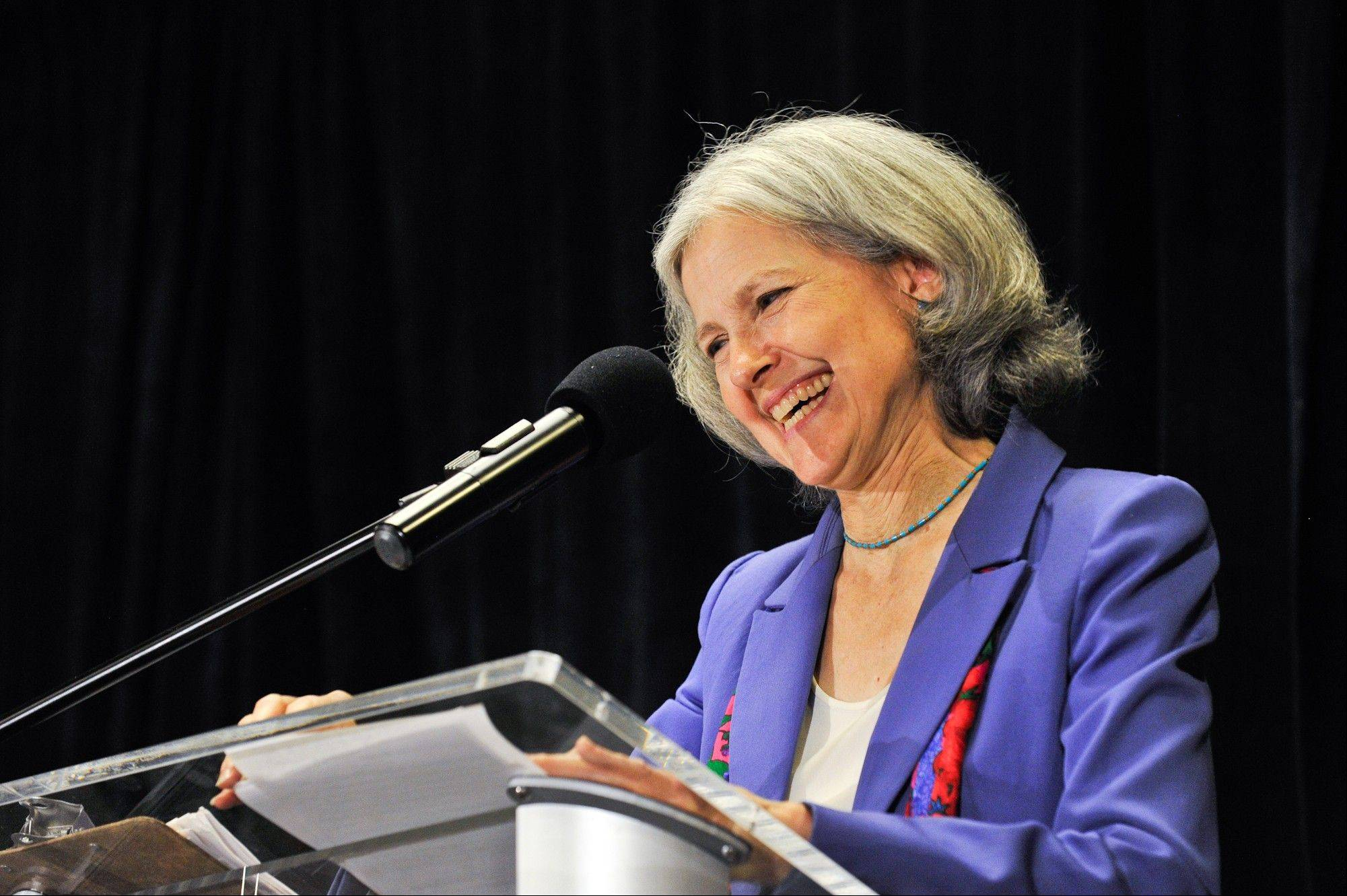 Green Party presidential candidate Jill Stein delivers her acceptance speech at the Green Party's convention in Baltimore on Saturday.