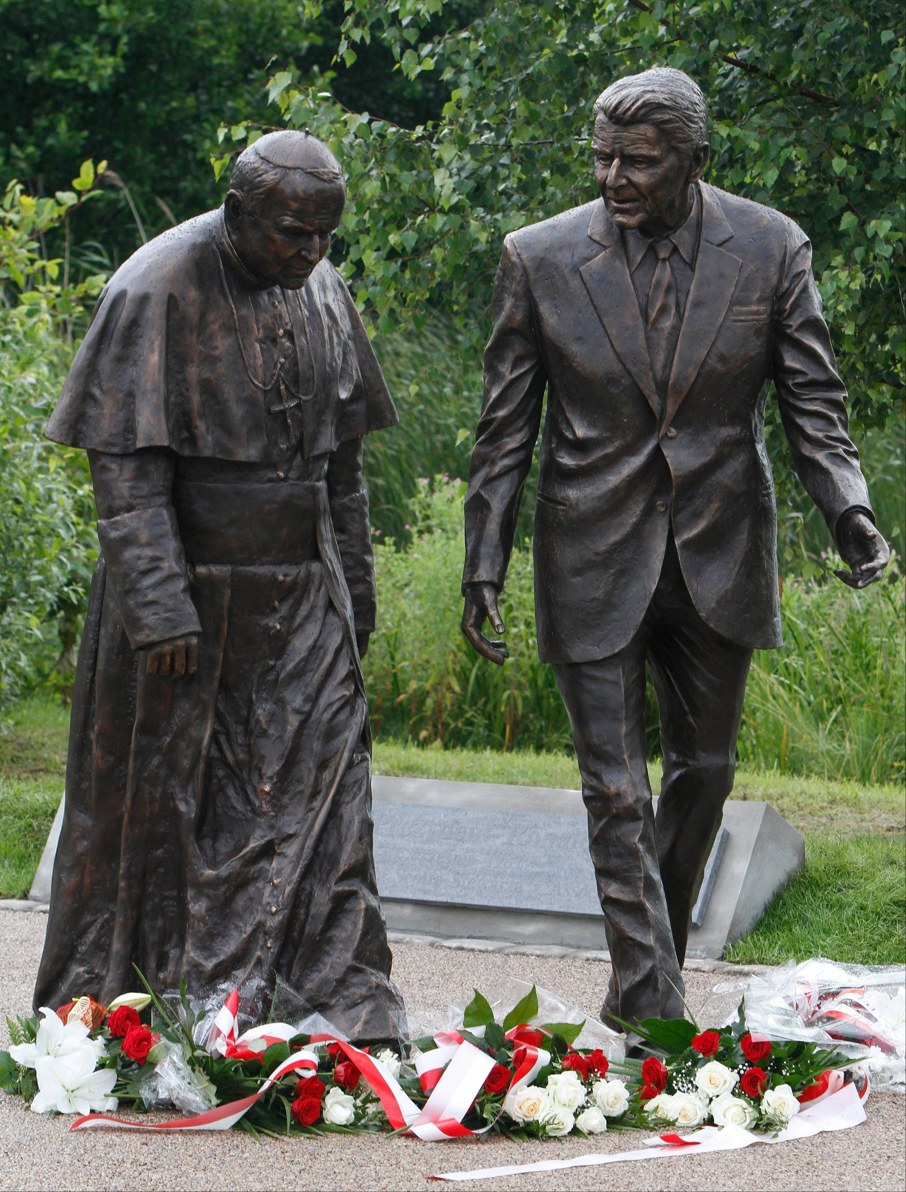 A new statue of President Ronald Reagan and Pope John Paul II that was unveiled Saturday in Gdansk, Poland. Both late leaders are highly reveared in Poland.