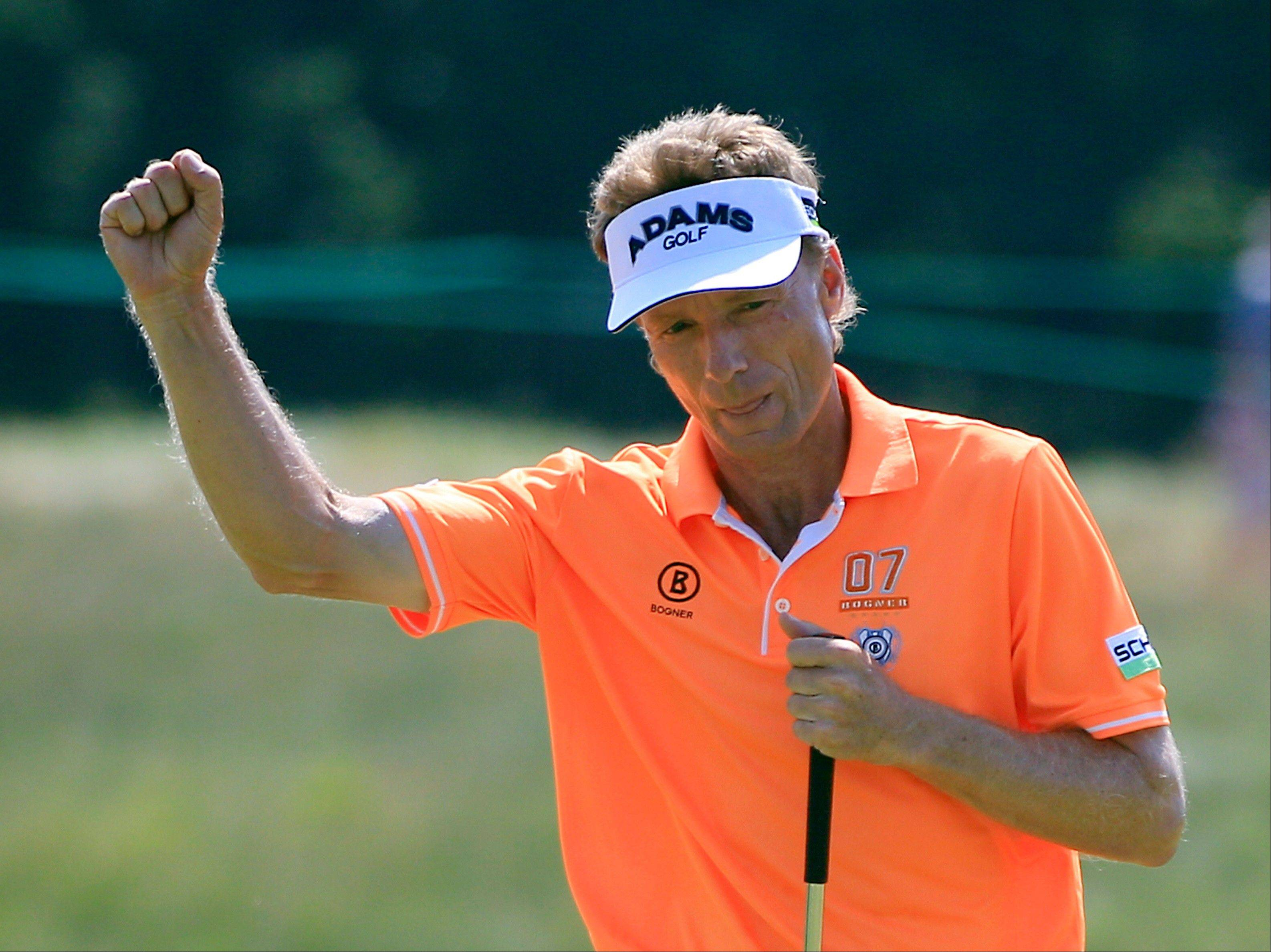 Bernhard Langer reacts after a birdie putt on the 15th hole Saturday during the third round at the U.S. Senior Open at Indianwood Golf and Country Club in Lake Orion, Mich.