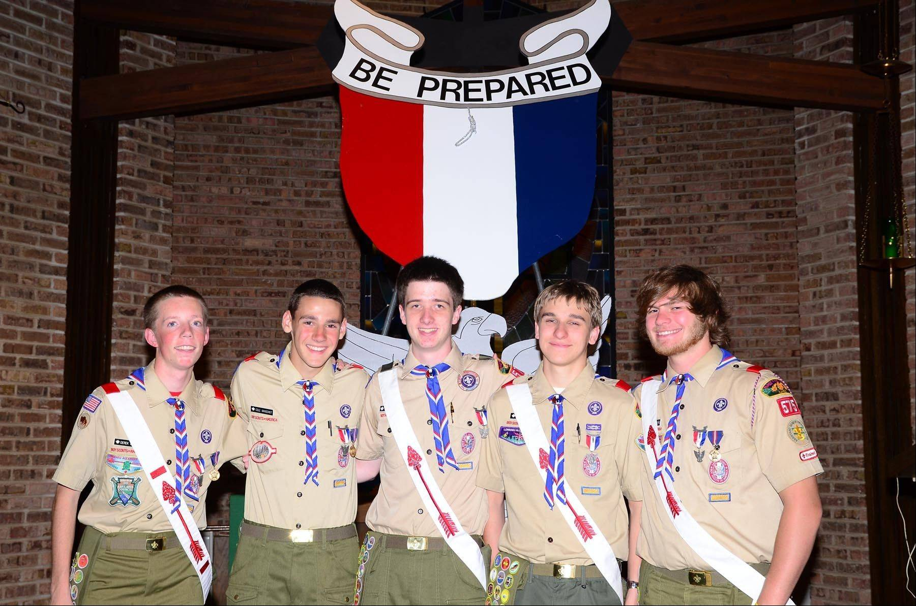 Boy Scouts from Winfield Boy Scout Troop 575's Bison Patrol received Scouting's highest rank, the rank of Eagle Scout. From left are Derek Breese, Cole Manschot, Anthony Roman, John Eganhouse and Mike Weinberg.