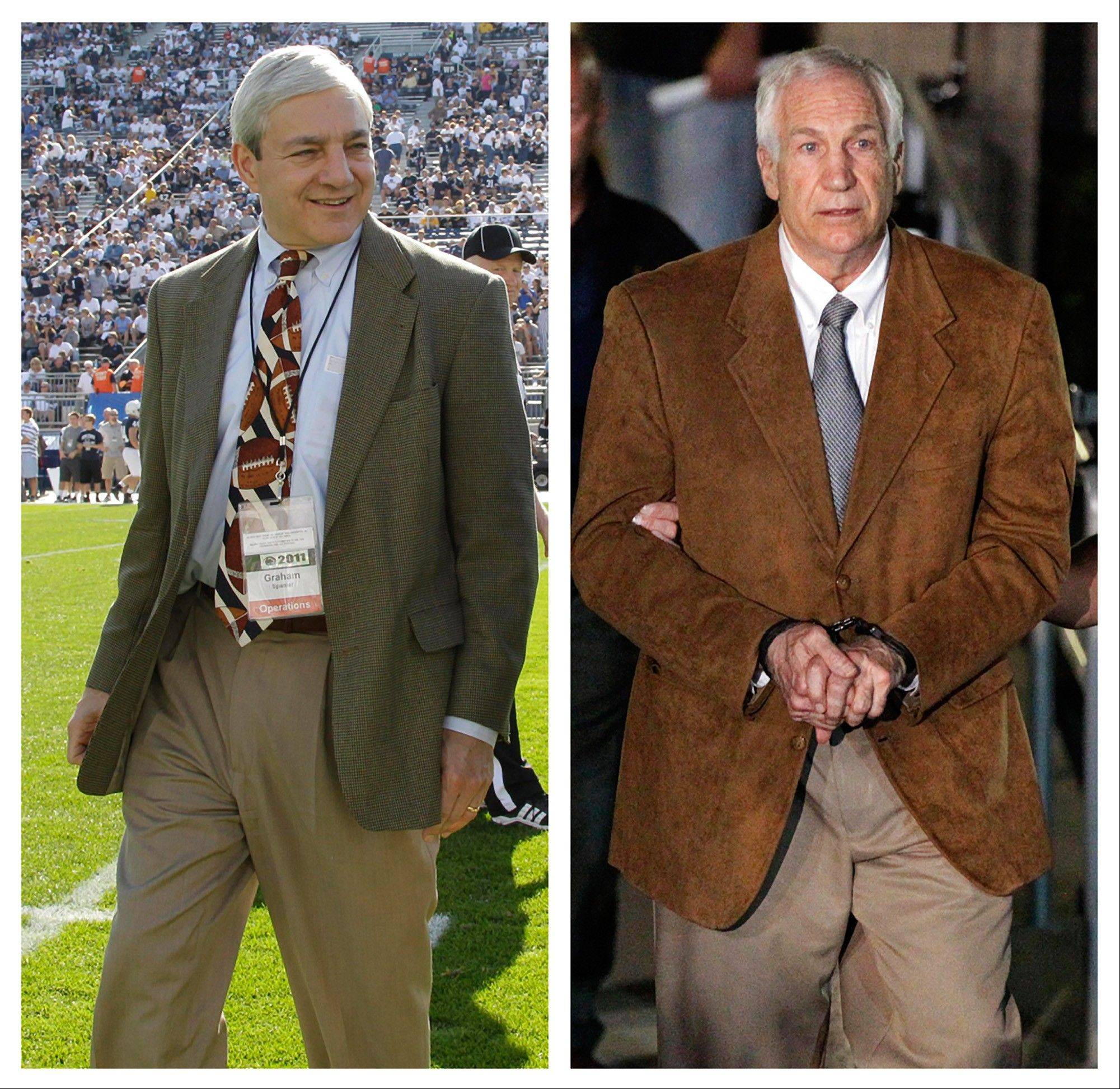 In this photo combo, at left, in an Oct. 8, 2011 file photo, Penn State president Graham Spanier walks on the field before an NCAA college football game in State College, Pa. At right, former Penn State University assistant football coach Jerry Sandusky leaves the Centre County Courthouse in custody after being found guilty of multiple charges of child sexual abuse in Bellefonte, Pa., June 22. National campus safety experts say such problems reporting crimes on campus spread far beyond Penn State, even as the U.S. Department of Education has stepped up enforcement in recent years and teamed up with the FBI on some inquiries.