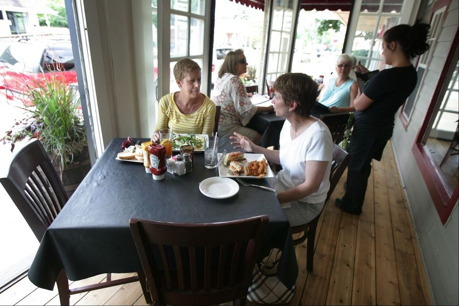 Chris McOmber, left, and Marie Sholts, both of Lake Zurich, enjoy lunch at Middleton's On Main restaurant in Wauconda.