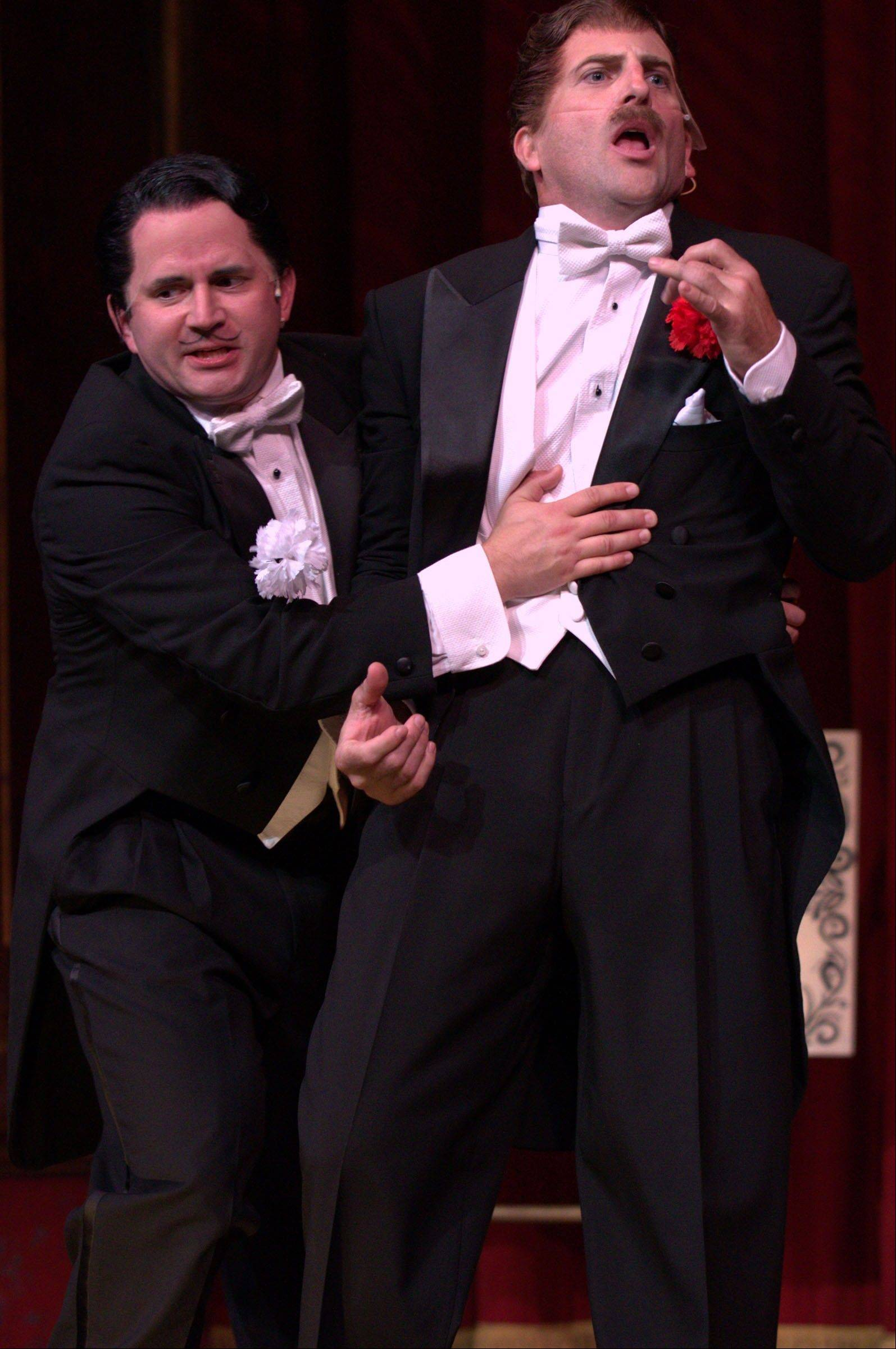 "Jeff Dumas, left, and Batavia native Paul Kalina -- a dynamic pair of physical performers -- play the clowns in Drury Lane Theatre's very funny revival of ""The 39 Steps,"" a comic whodunit inspired by the 1935 Alfred Hitchcock film."