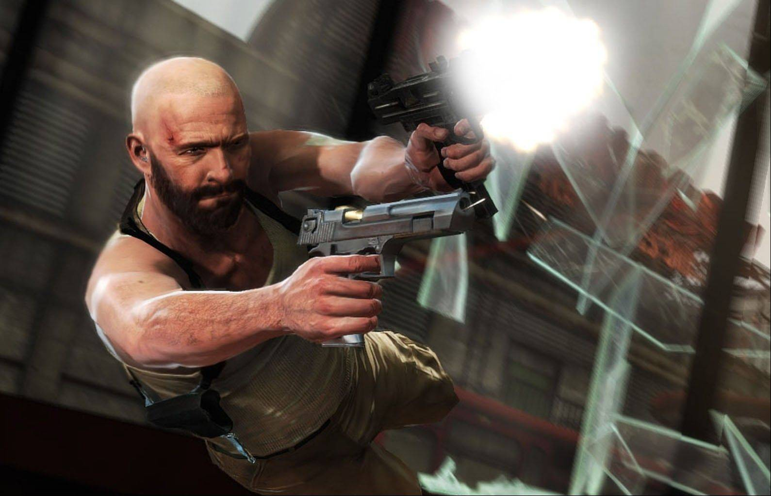 "Max Payne uses his Shootdodge maneuver to fire off some shots in ""Max Payne 3."""