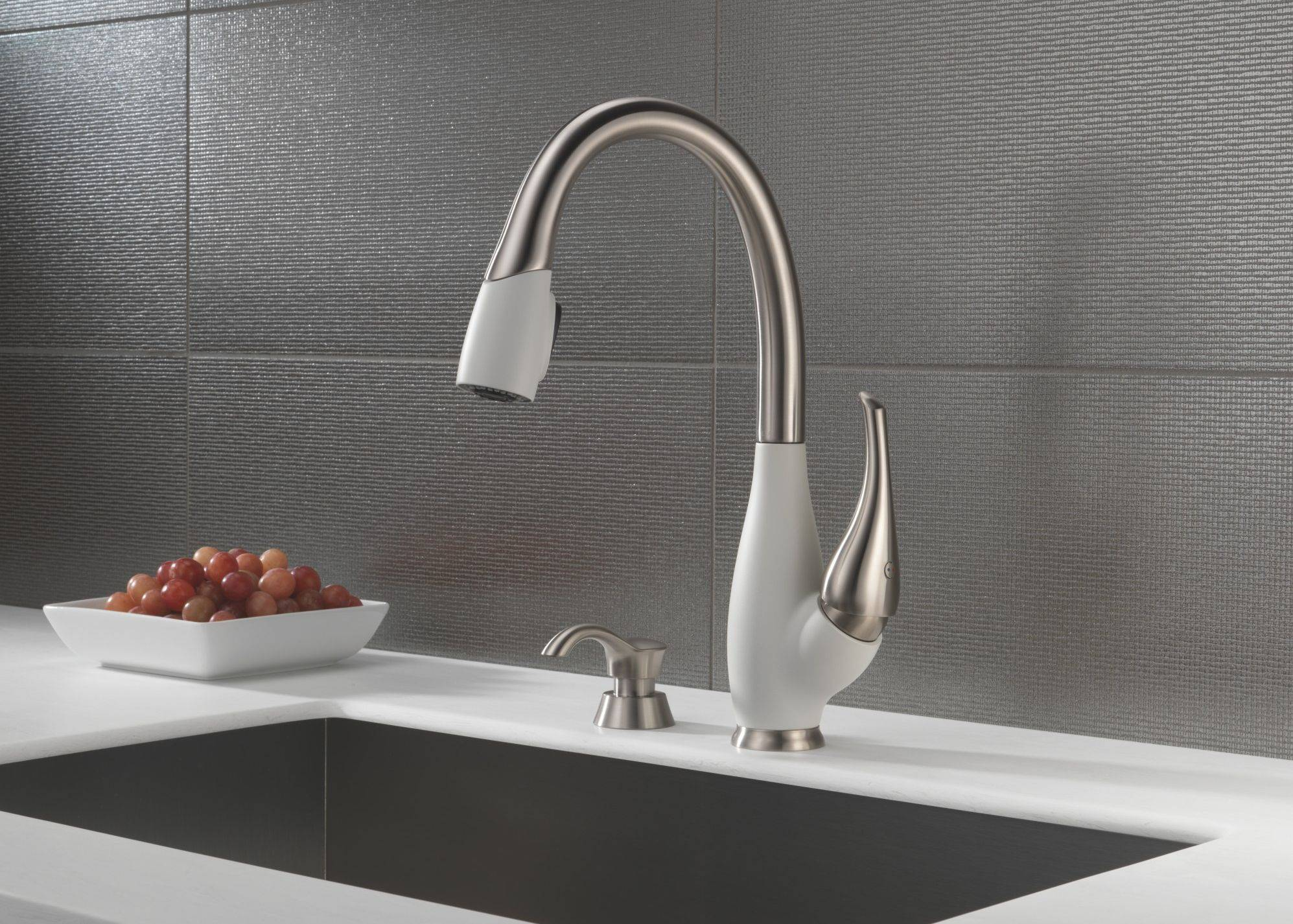 Delta's Fuse adds red, black or white to your kitchen faucet. The fuse is another faucet that offers multiple uses in the kitchen.