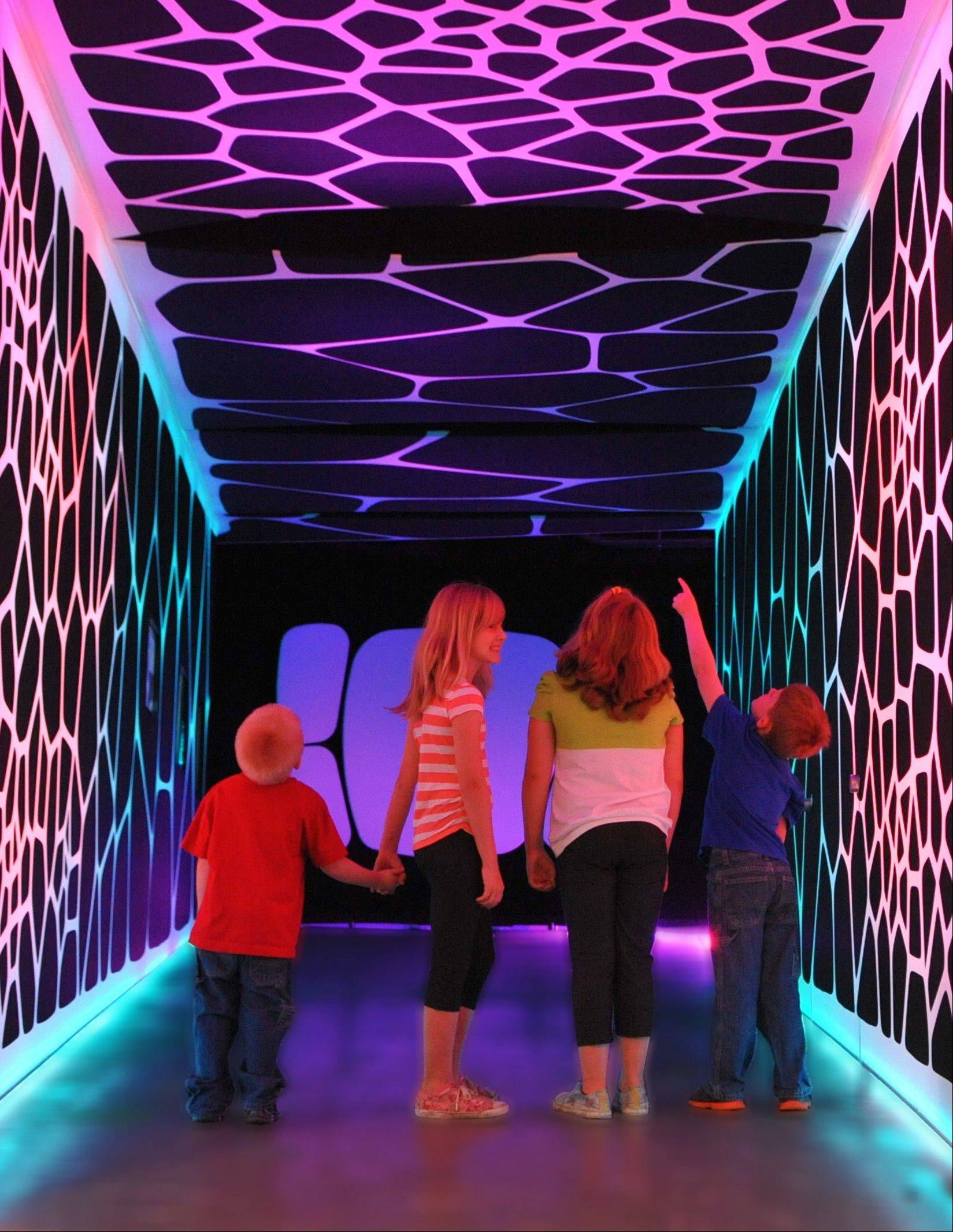 "As part of ""The Universe: A Walk through Space and Time"" exhibit, visitors are escorted into a compact room, representing the early beginnings of the universe."