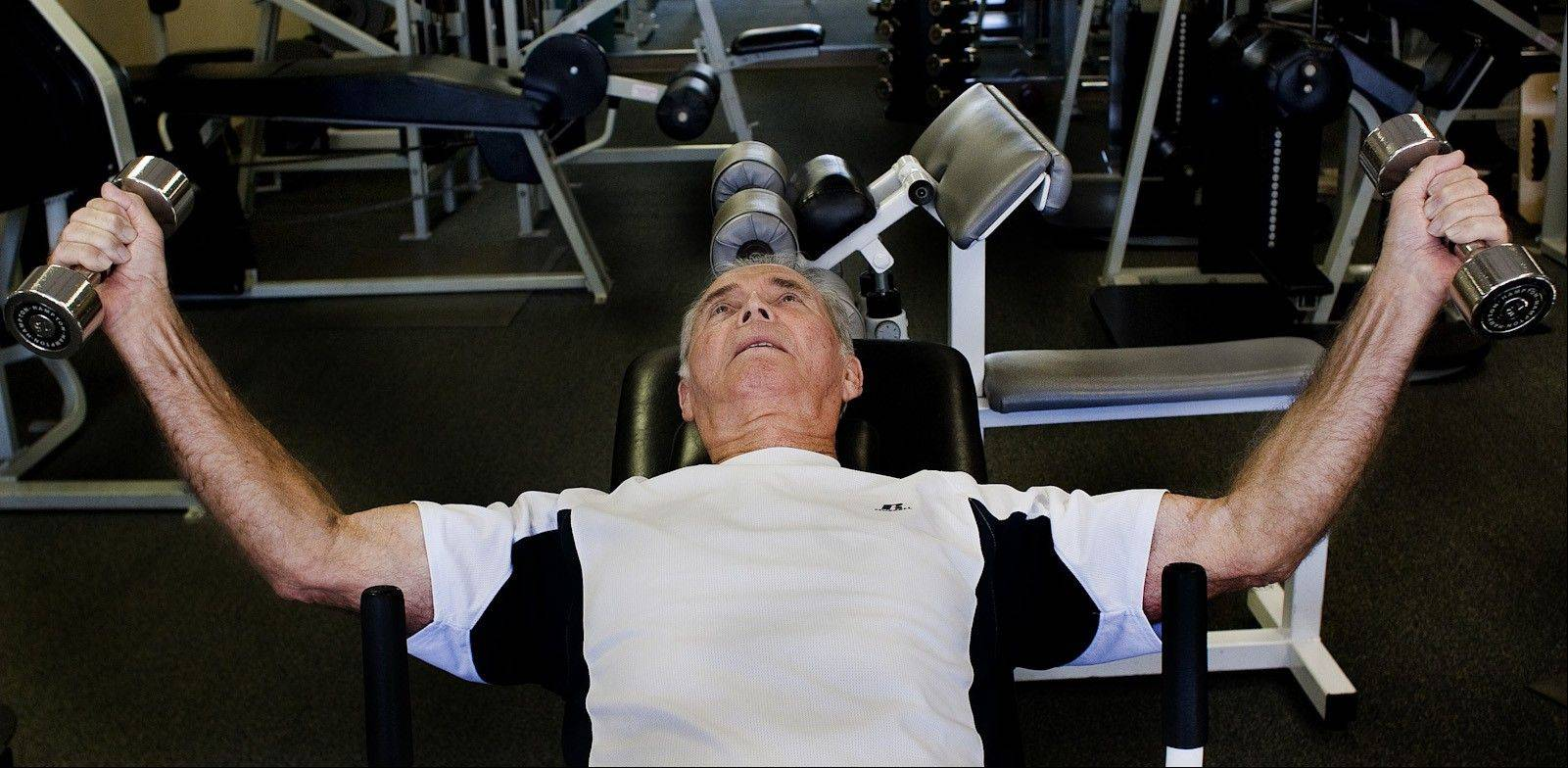 Bob Cole demonstrates position 2 of an incline chest fly.