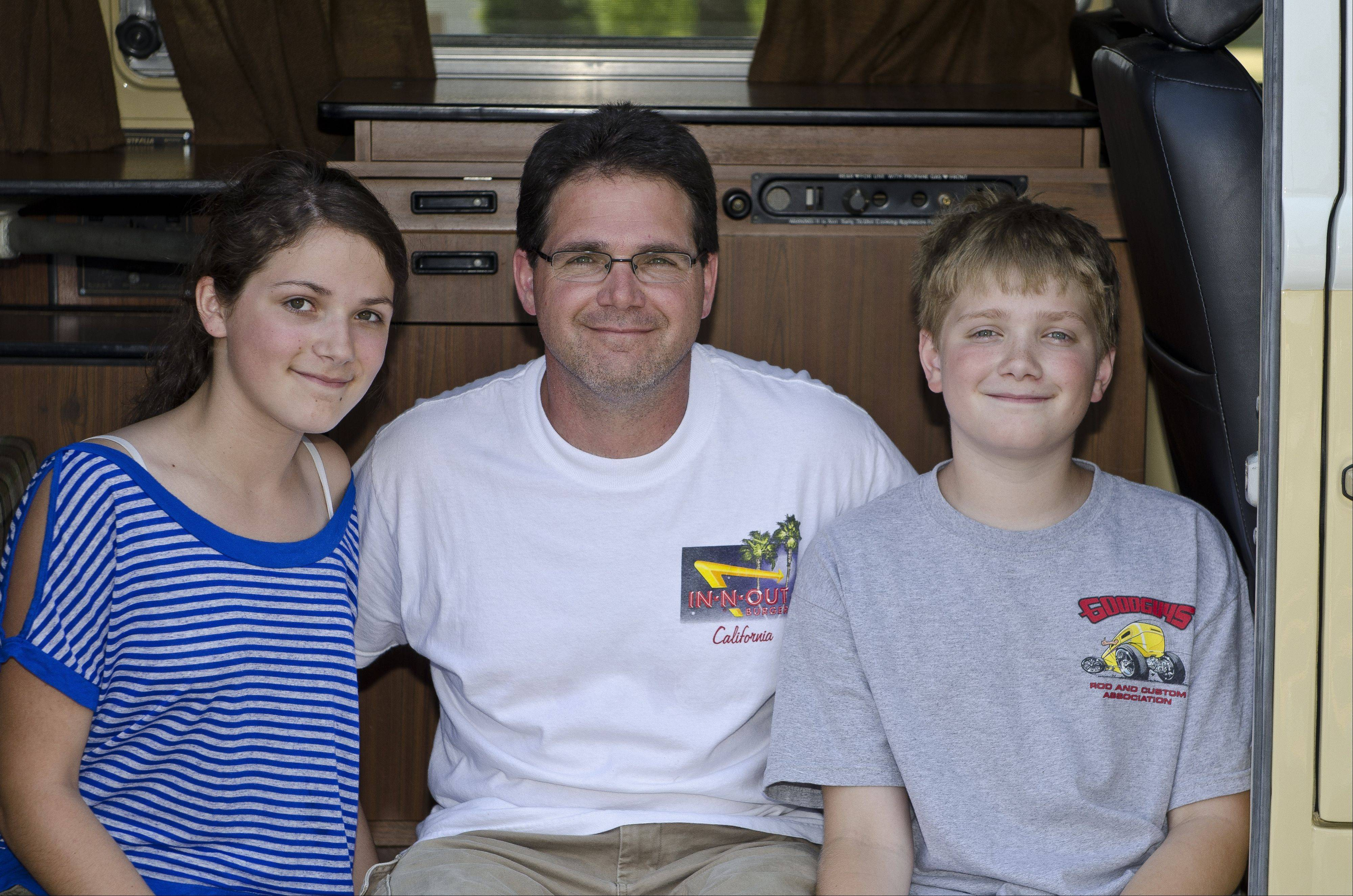 Jack Connolly of Elk Grove Village and his children, Anna and Jack Jr., enjoy the trips they take in their VW Bus.