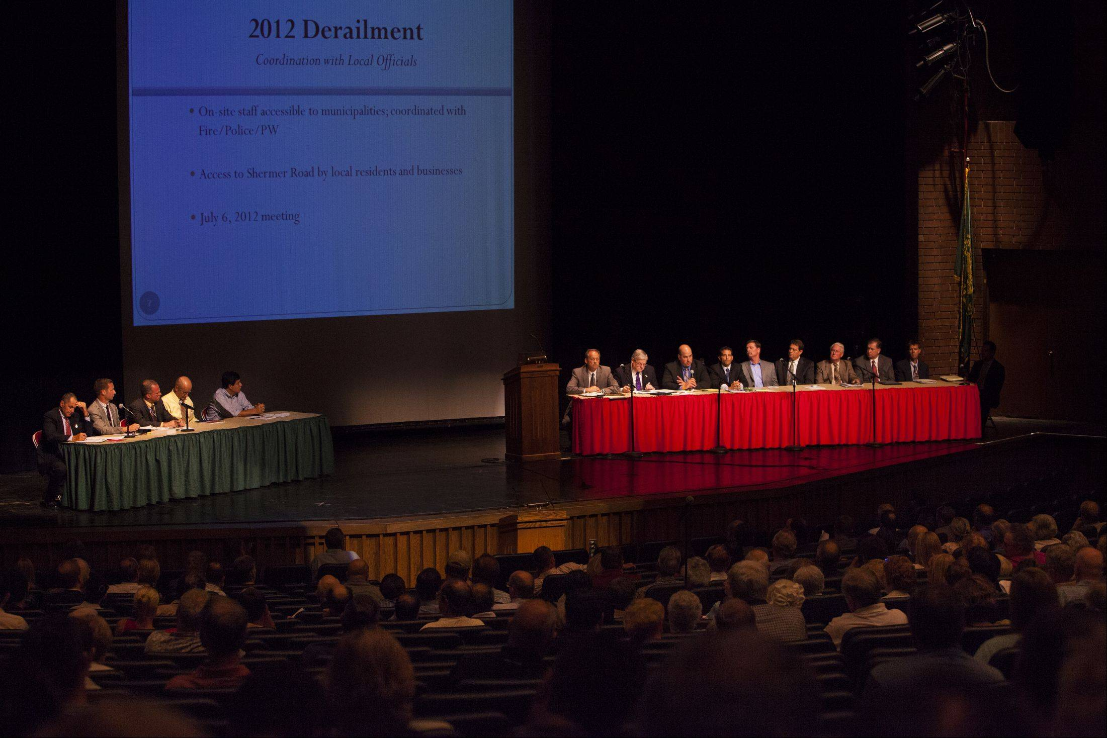 Union Pacific officials held a meeting Monday night at Glenbrook North High School to discuss the train derailment of July 4.