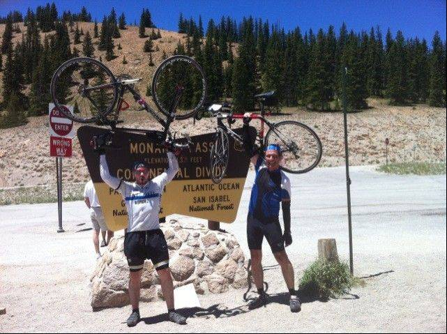 Paul Meincke and Eoin Delaney from Dublin at Monarch Pass, Colo., where they crossed Continental Divide at 11,300 feet. Delaney isn't the only international participant, the ride also has drawn a 75-year-old from Holland.