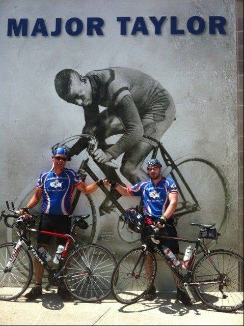 "In Indianapolis, Paul and Eoin stop in front of a mural of Marshall Walter ""Major"" Taylor (1878-1932), an American cyclist who set numerous world records and won the world 1-mile track cycling championship in 1899. Taylor was the first black athlete to achieve the level of world champion."