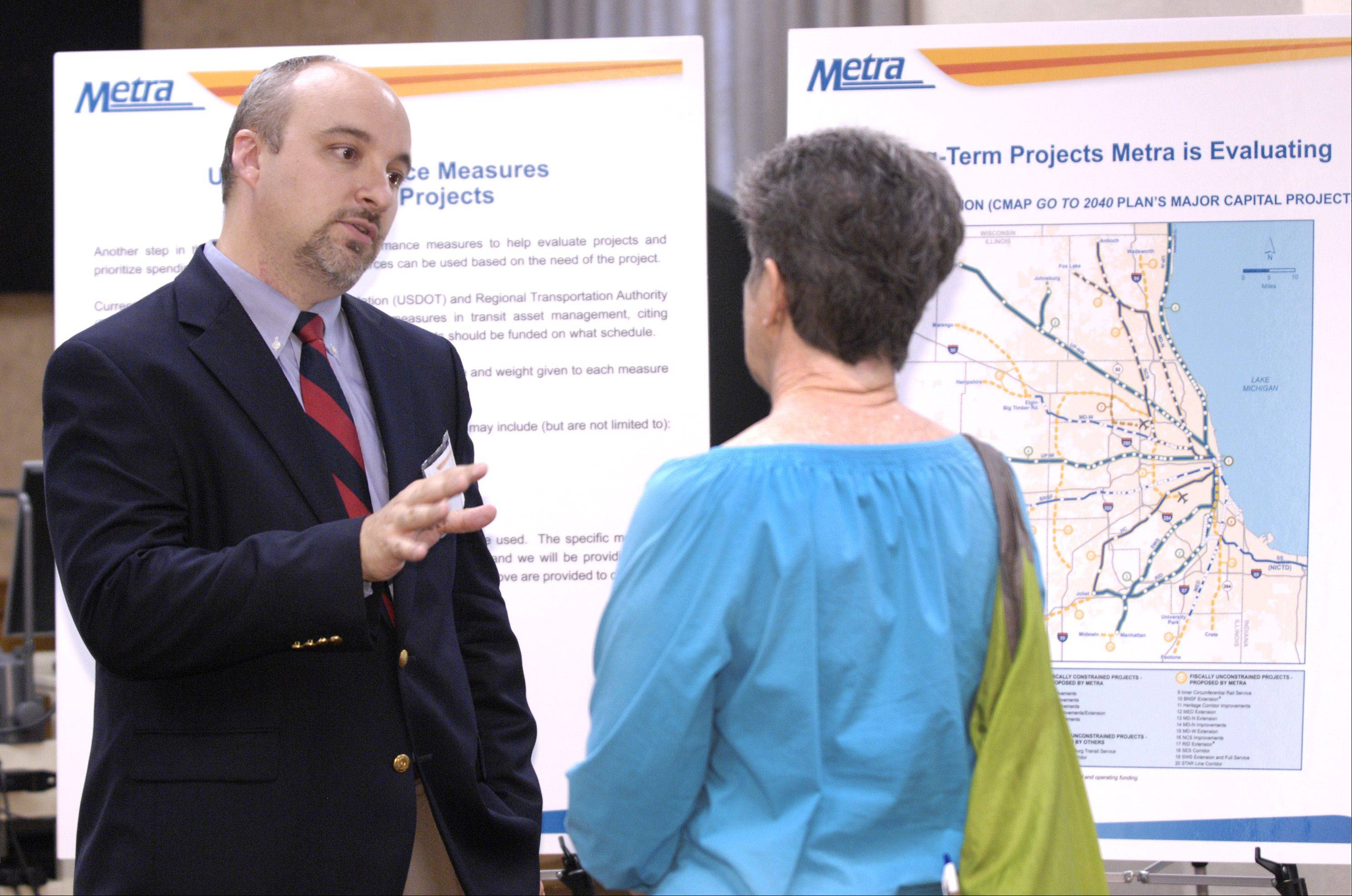 David Kralik, of the Metra Strategic Capital Planning group, talks with Glen Ellyn resident Chris Fiebig during an open house on Metra's new strategic plan Thursday in Glen Ellyn.