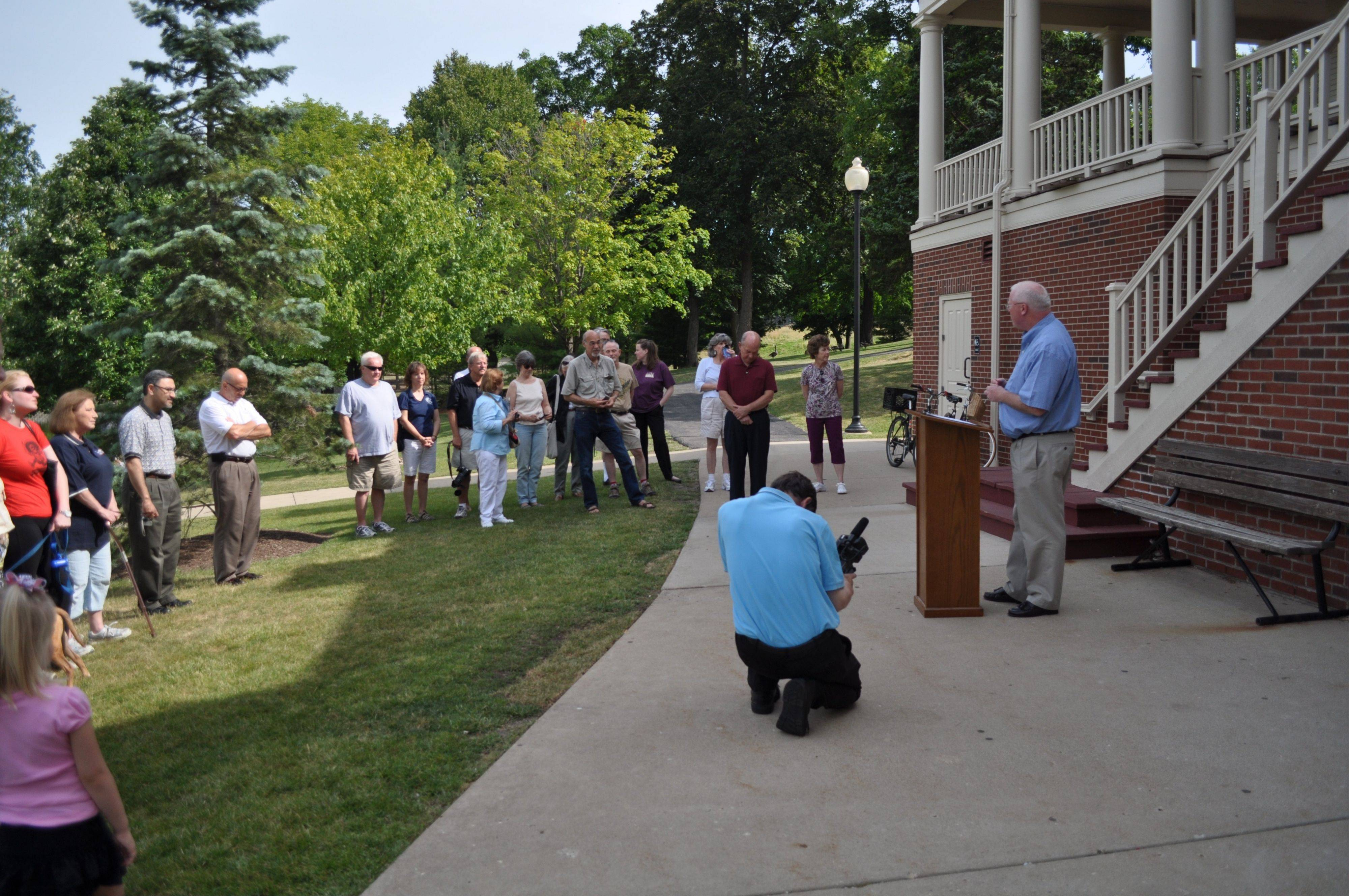 Hanover Township Supervisor Brian P. McGuire addressing the attendees at the Heritage Marker dedication ceremony at Lords Park.
