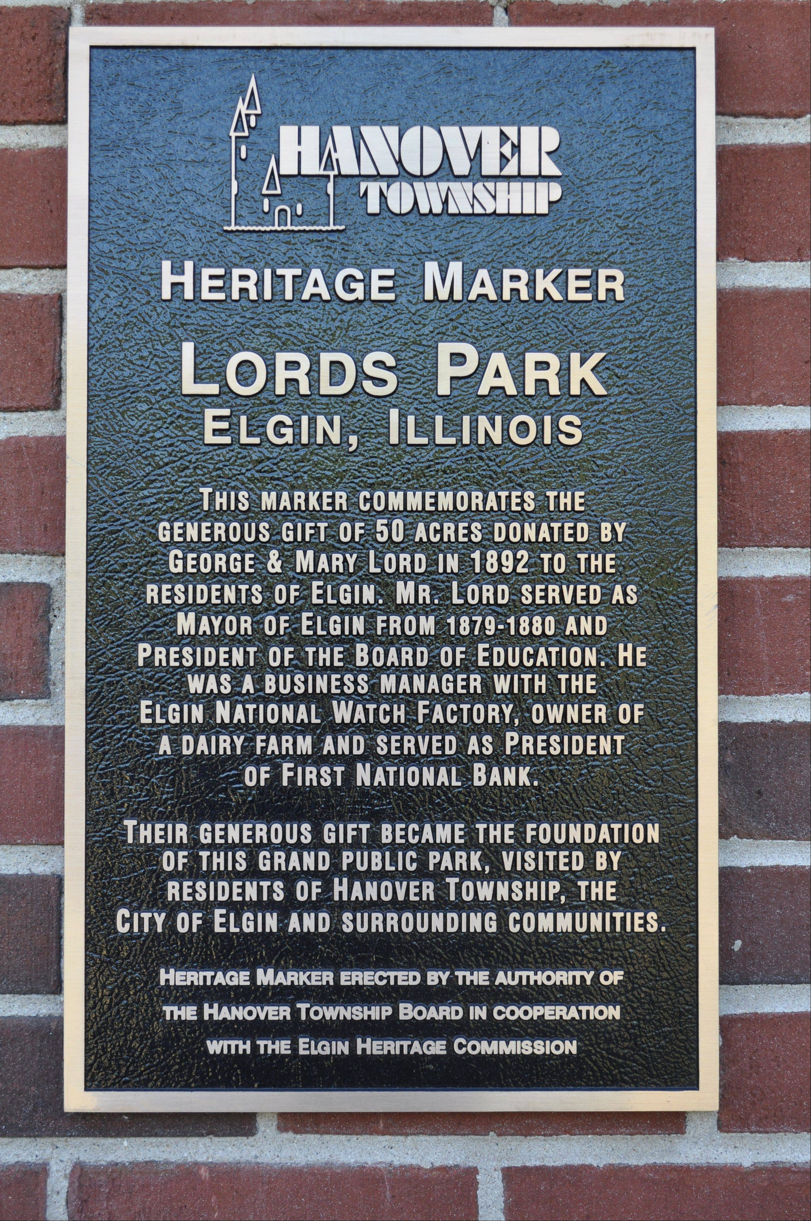 Heritage Marker at Lords Park