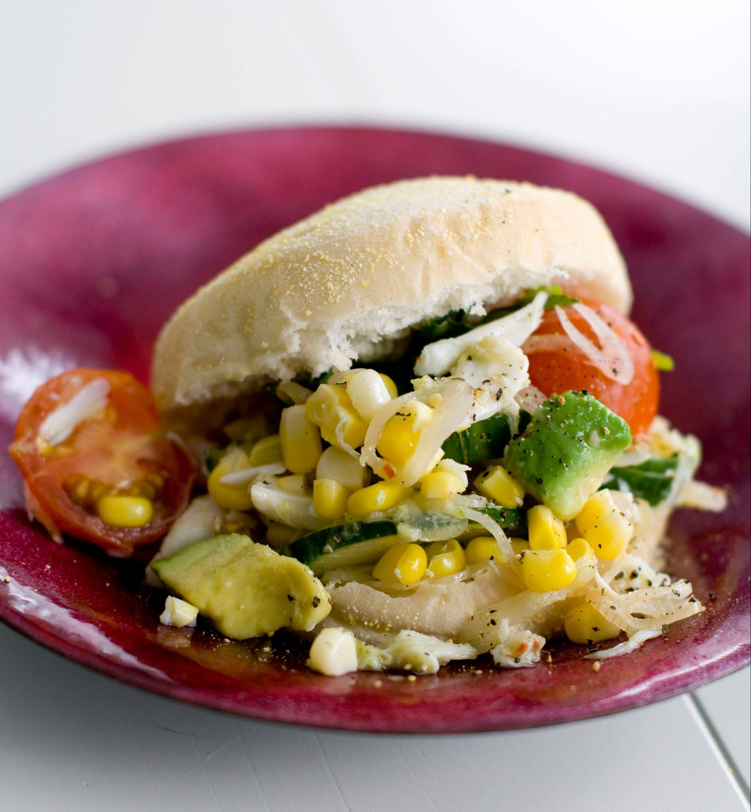 Seamus Mullen�s simple summer salad of corn and jumbo lump crabmeat can be enjoyed in a bowl or on a bun.