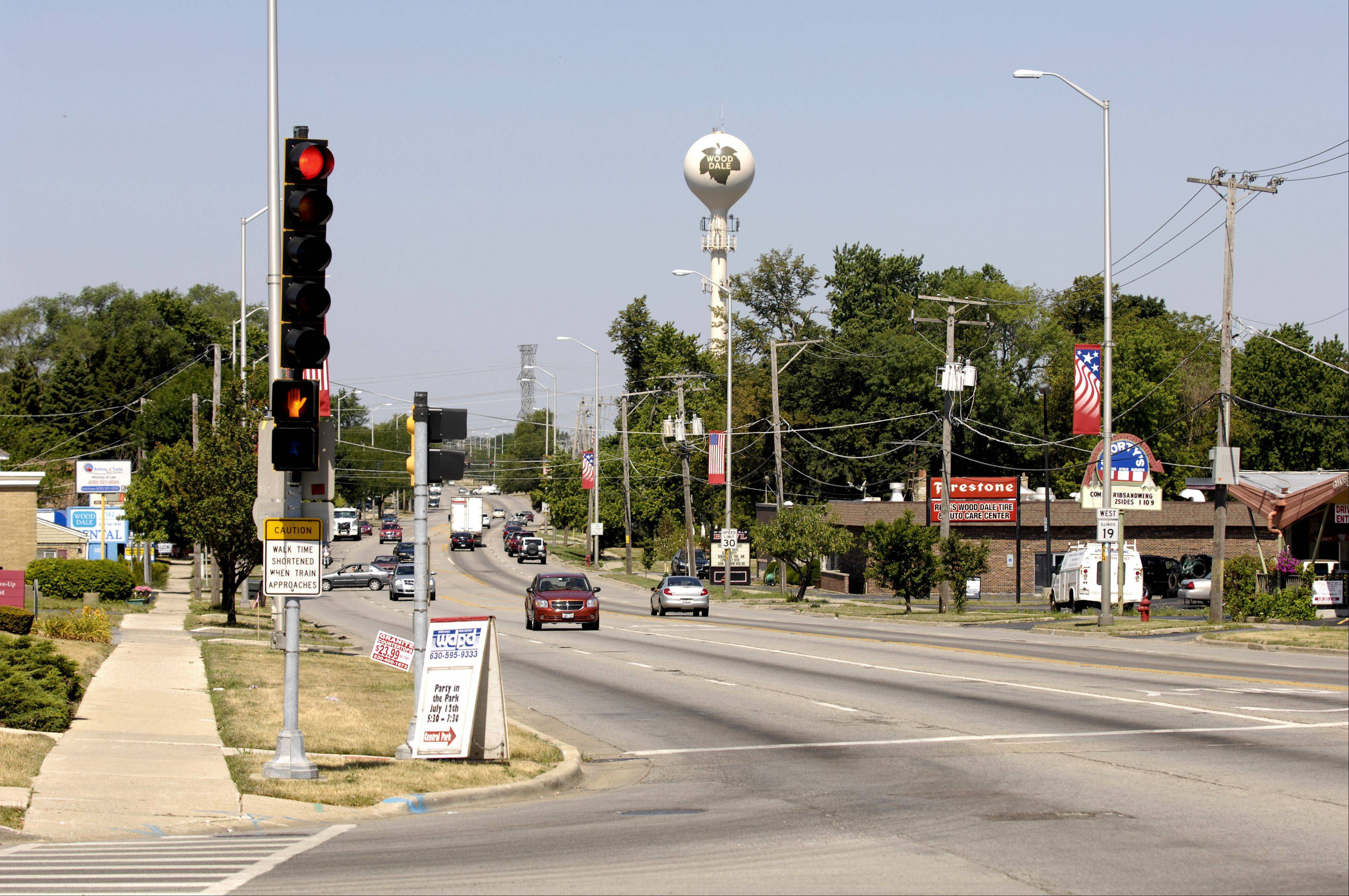 This intersection of Irving Park Road and Wood Dale Road in Wood Dale will be the site of a downtown vision and community park area hoped to attract people to the area.