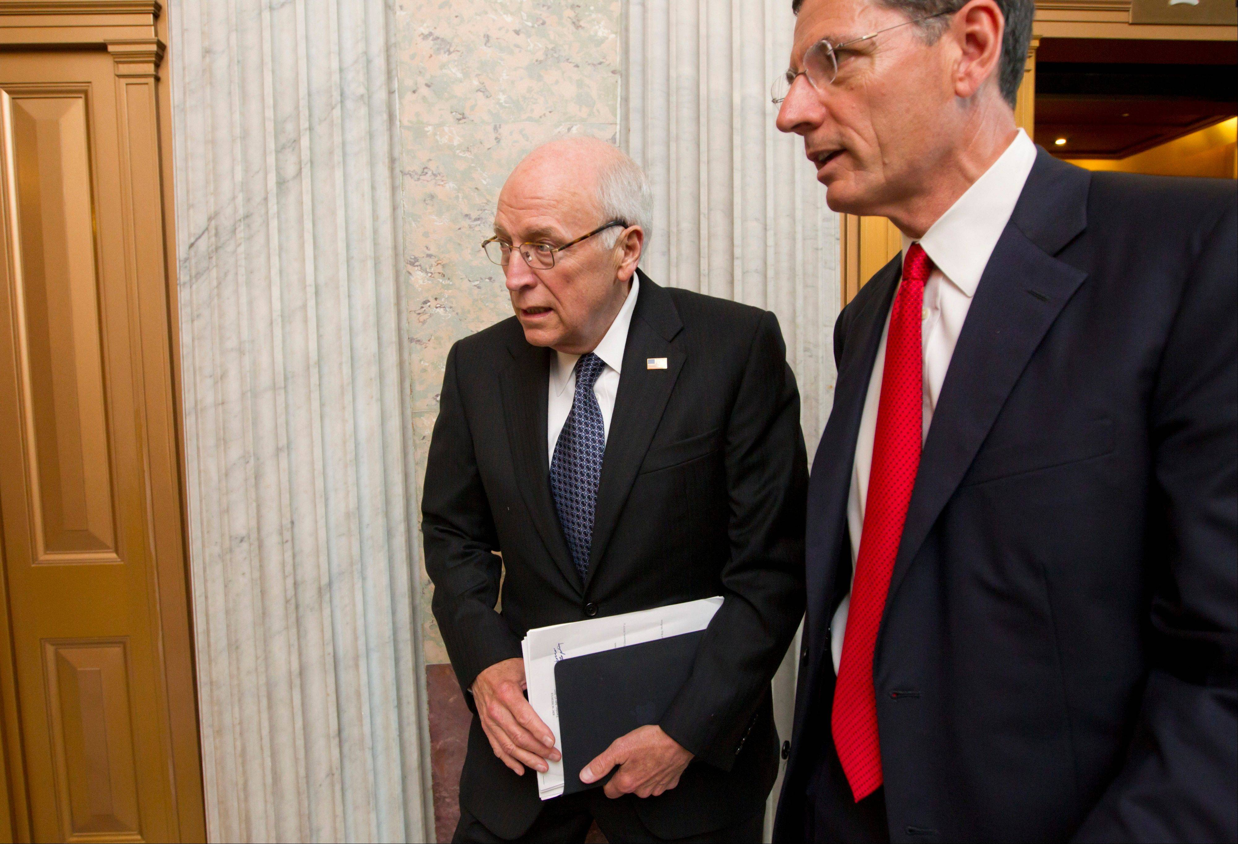 Former Vice President Dick Cheney, who also served five terms as Wyoming�s representative in the House, returns to the Capitol to meet with Senate Republican leaders at a political strategy luncheon in Washington Tuesday. He is accompanied by Wyoming Sen. John Barrasso, the Republican Policy Committee chairman.