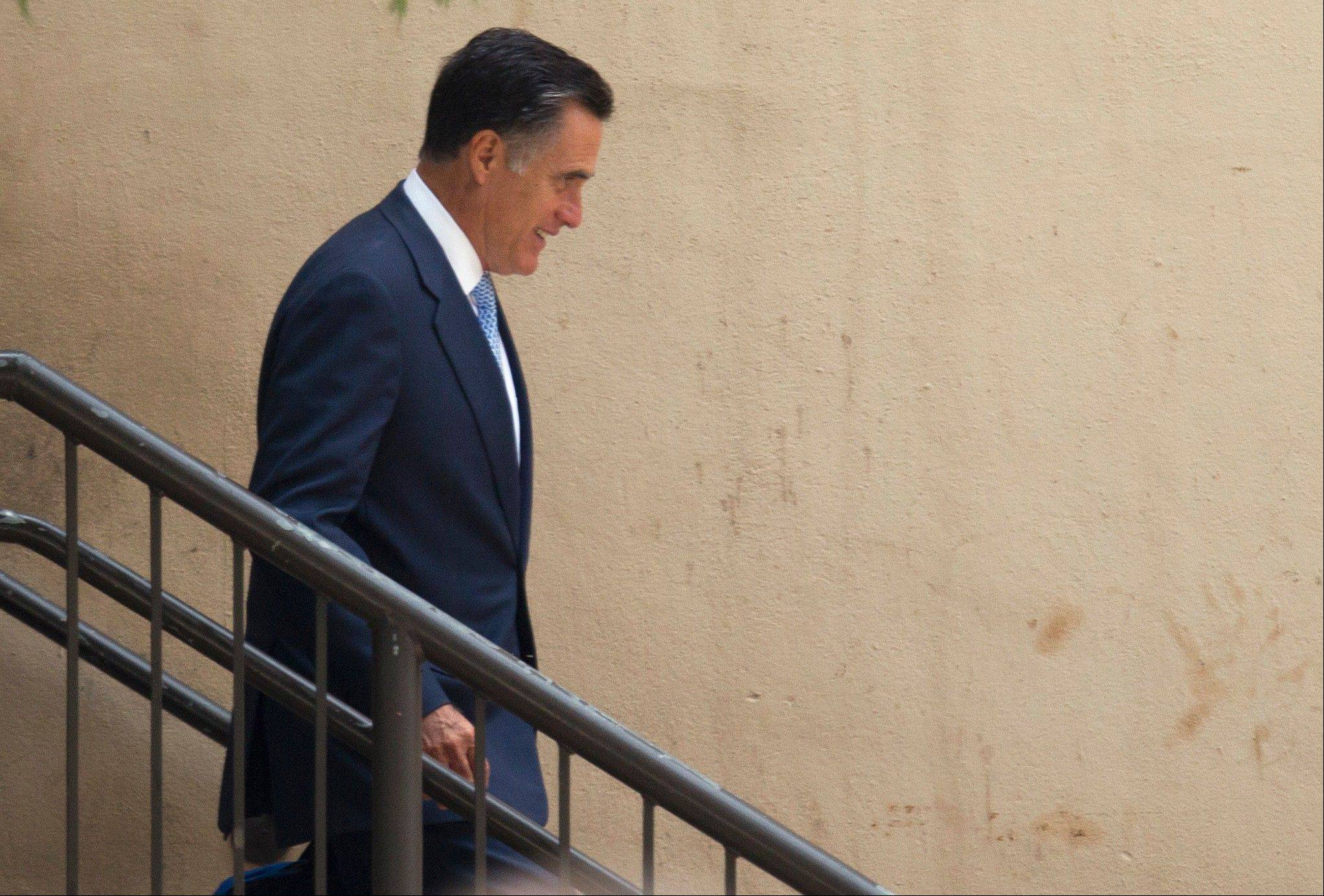 Republican presidential candidate, former Massachusetts Gov. Mitt Romney leaves a fundraiser that included Gov. Bobby Jindal, R-La., on Monday, July 16, 2012 in Baton Rouge, La.
