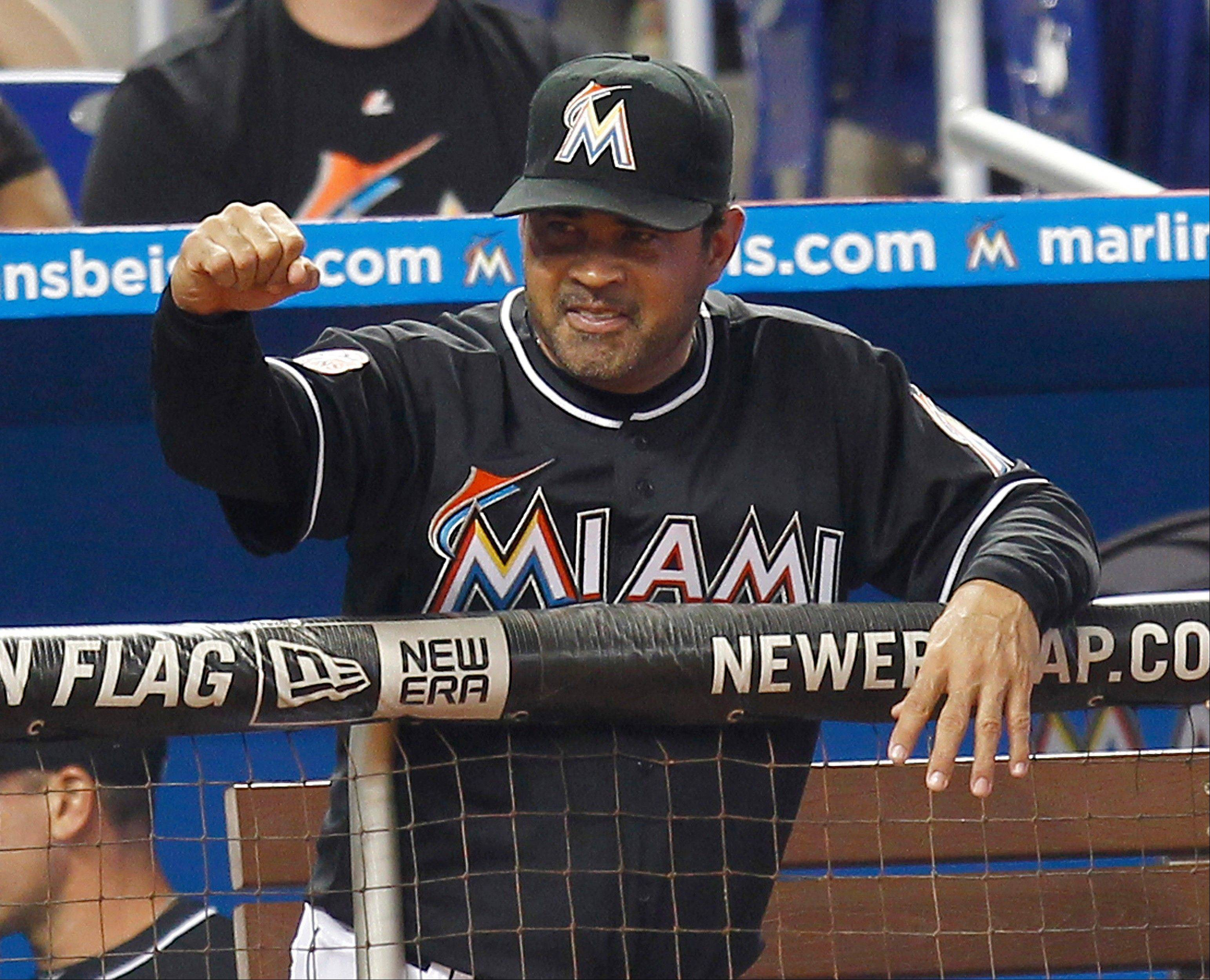 As usual, former White Sox manager Ozzie Guillen, shown here during at game at Miami last weekend, was not at a loss for words Tuesday night when he brought his Marlins to Wrigley Field.