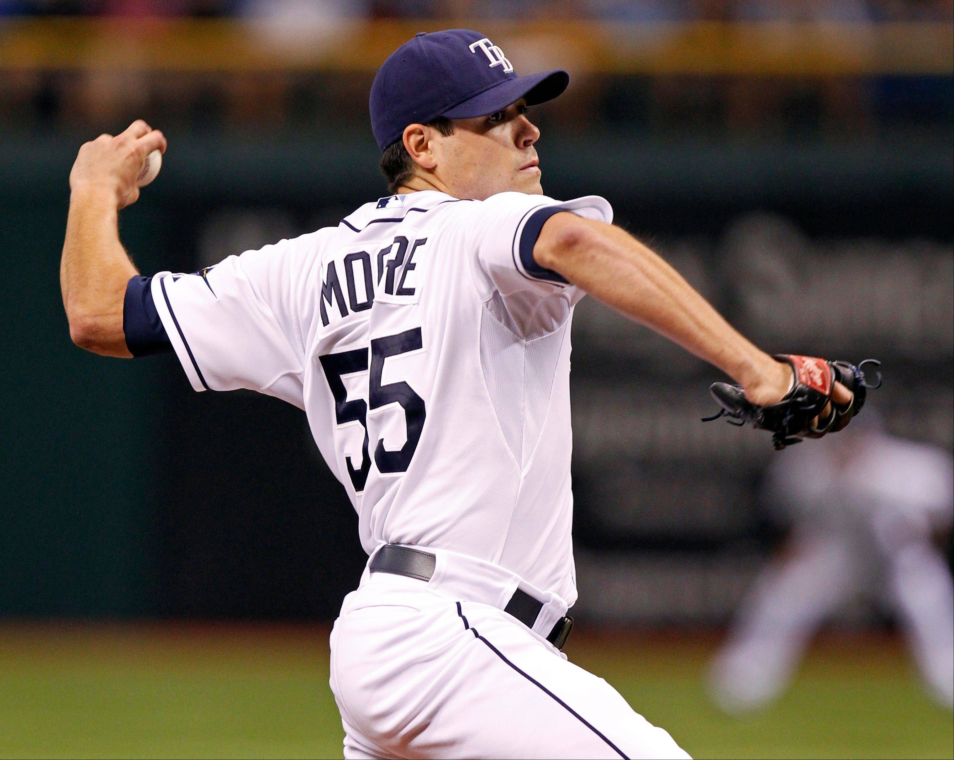 Moore walks five in Rays' win over Cleveland