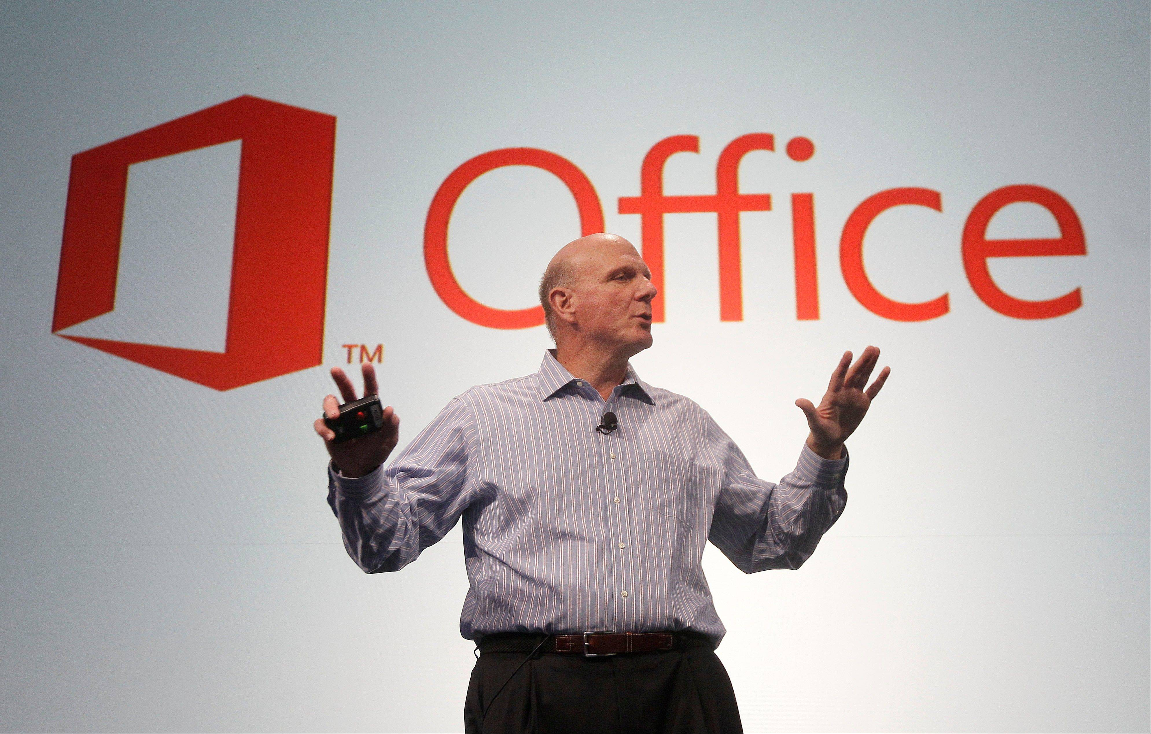Microsoft CEO Steve Ballmer speaks at a Microsoft event in San Francisco, Monday, July 16, 2012. Microsoft unveiled a new version of its widely used, lucrative suite of word processing, spreadsheet and email programs Monday, one designed specifically with tablet computers and Internet-based storage in mind.