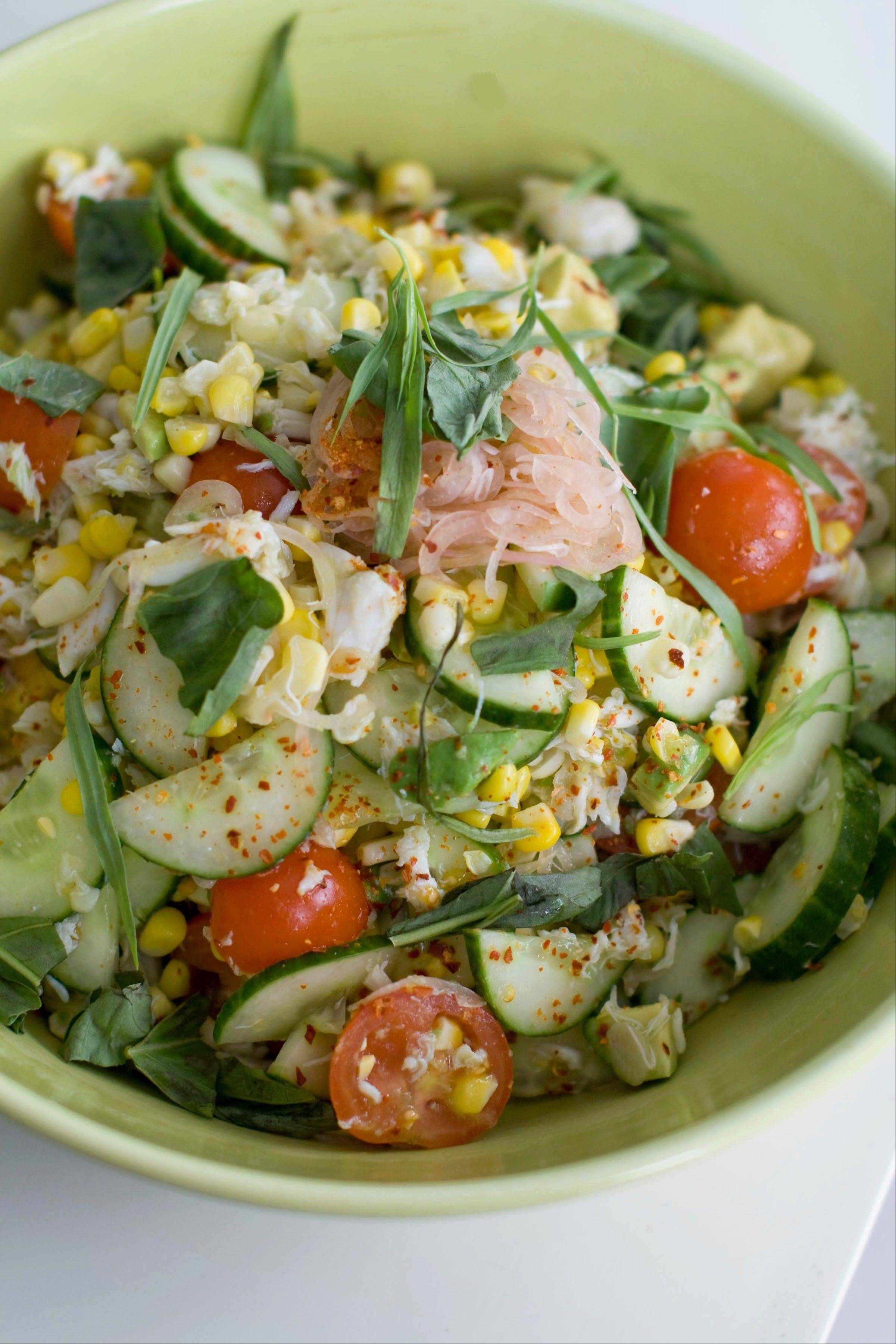 "This simple summer salad of corn and jumbo lump crabmeat comes from Seamus Mullen's new cookbook, ""Hero Food."""