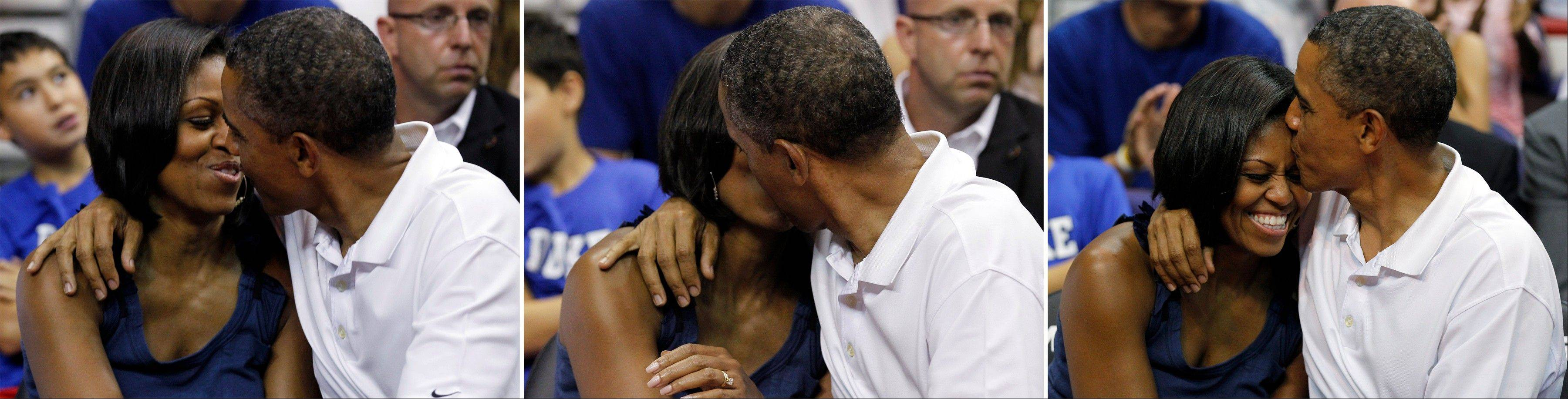 "This photo combination shows a sequence of President Barack Obama kissing first lady Michelle Obama while being shown on the large in-house video screen for the ""Kiss Cam,"" as they watch the second half of an Olympic men's exhibition basketball game between Team USA and Brazil, Monday, July 16, 2012, in Washington. Team USA won 80-69."