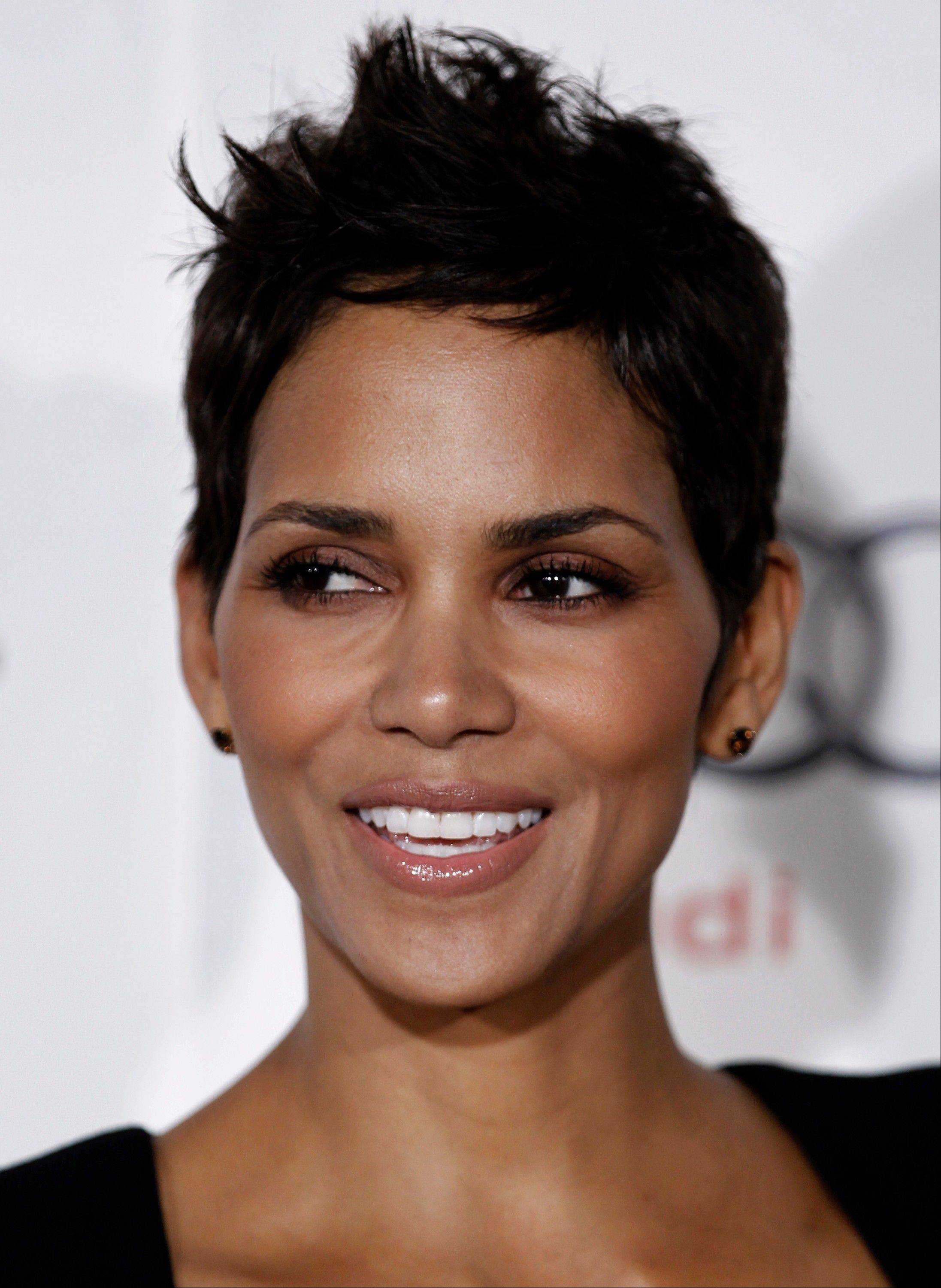 Actress Halle Berry was taken to a hospital after falling and striking her head on concrete late Tuesday, but was later discharged.