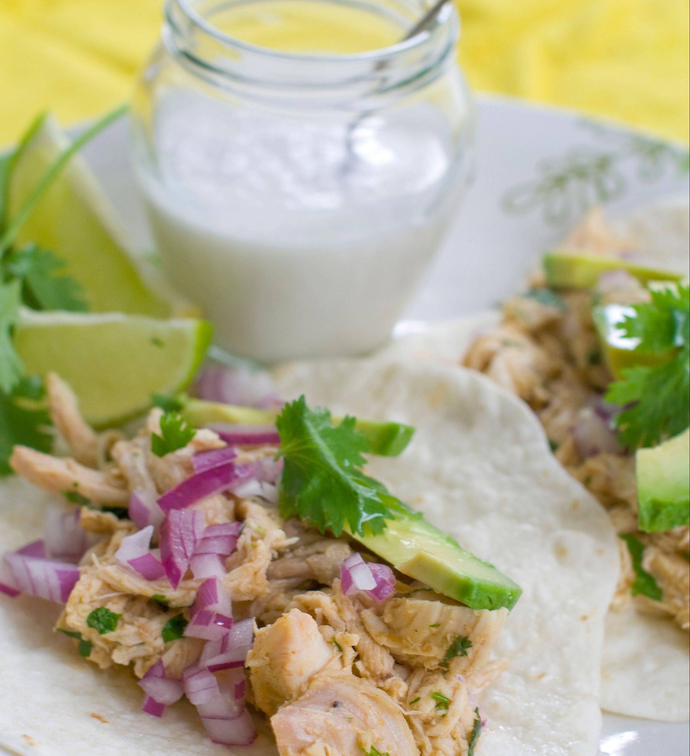 Make sure to use coconut milk, not water, for these pulled chicken tacos.