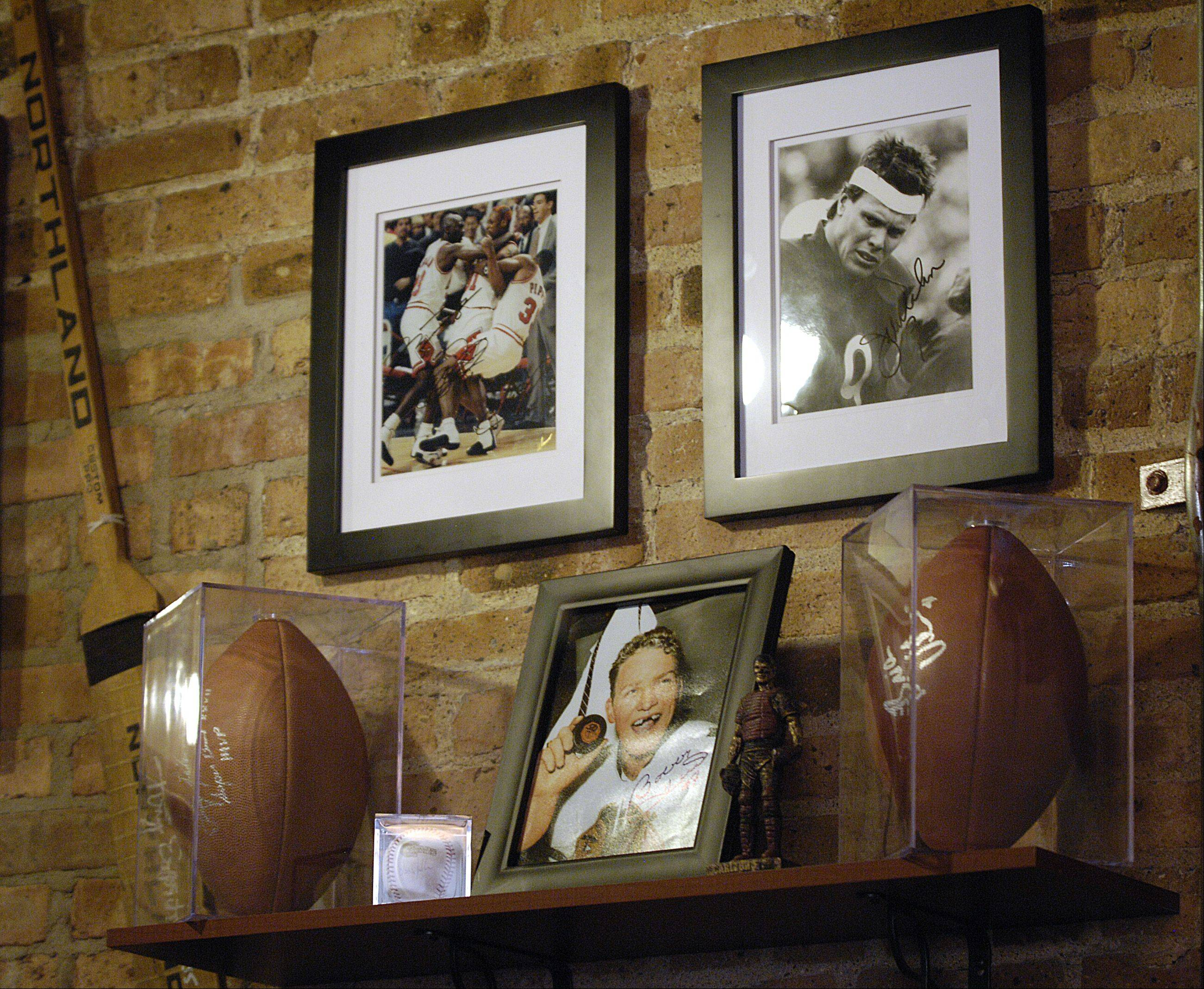 Sports items and photos drive home the theme at North Side Sports Bar & Grill in Glen Ellyn.