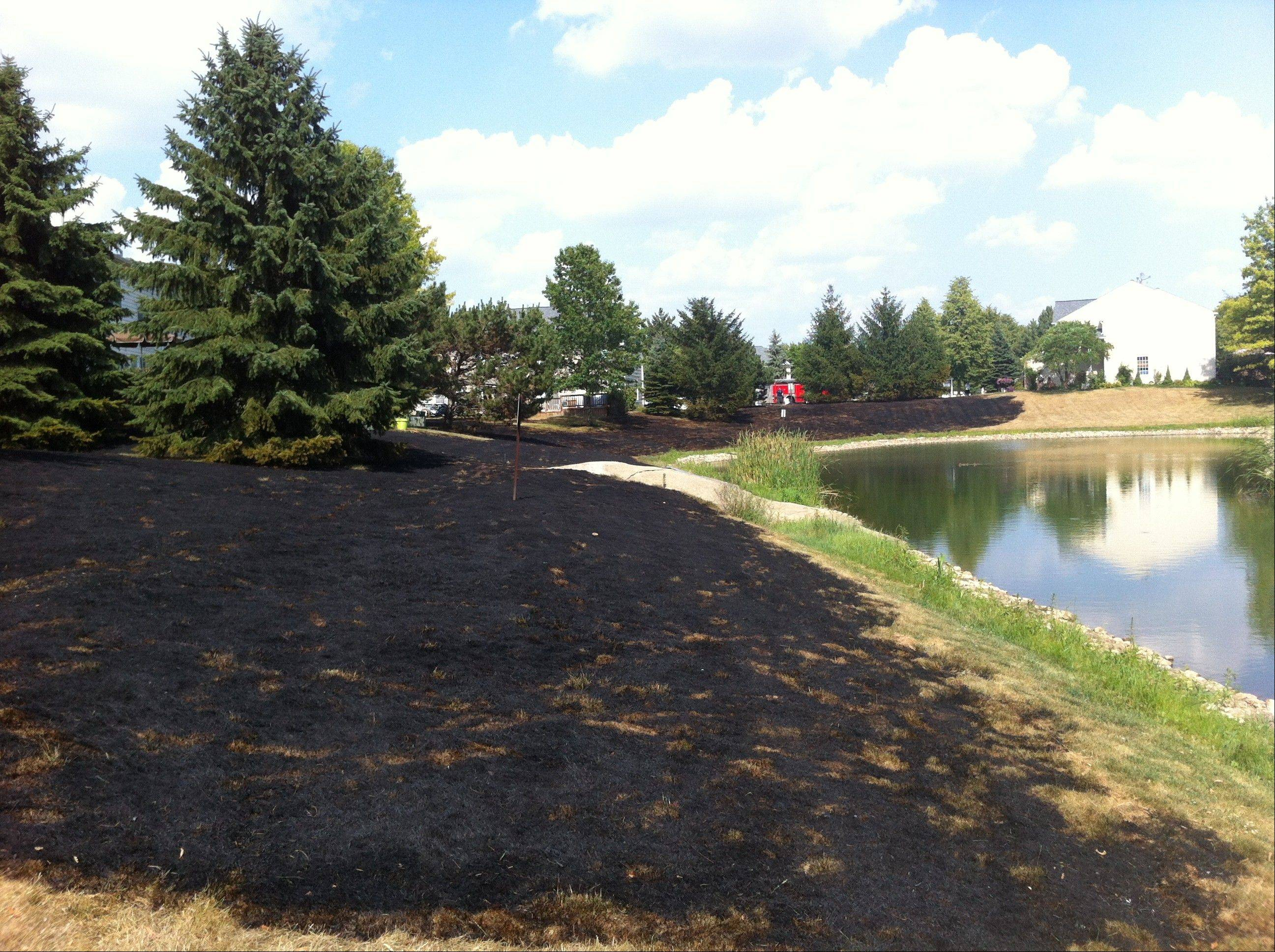 A grass fire burned through multiple backyards on the 1300 block of Spaulding Road on Tuesday, but firefighters were able to prevent it from spreading to nearby townhouses.