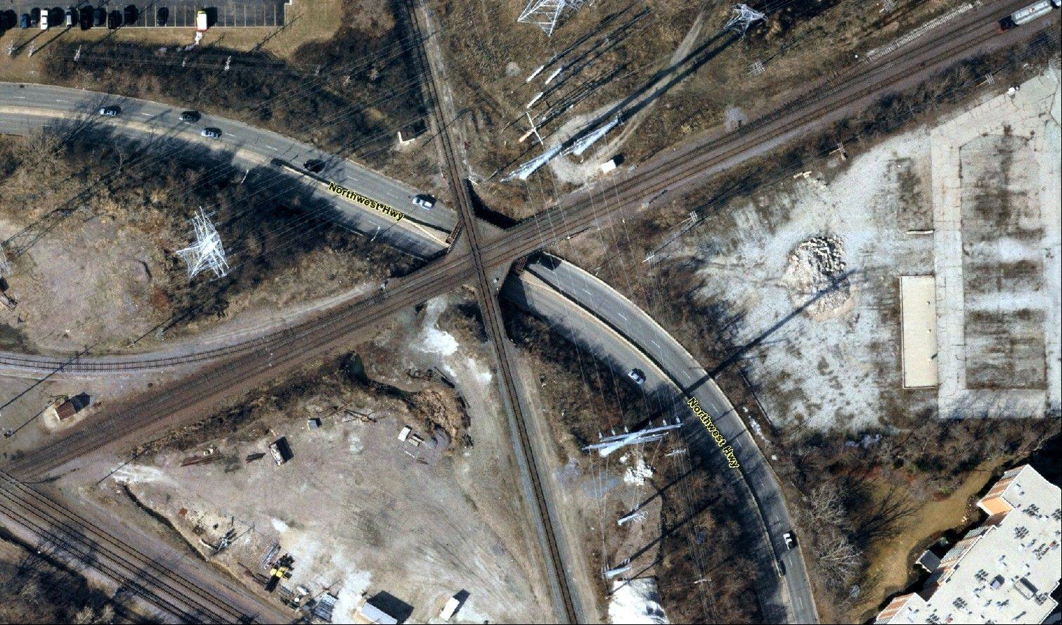 Des Plaines Mayor Marty Moylan said Tuesday he wants an immediate inspection of all railroad bridges that go over roads in the city, including this bridge over Northwest Highway, about a mile west of Graceland Avenue. Moylan's request is in light of a recent bridge collapse in Glenview that killed two people.