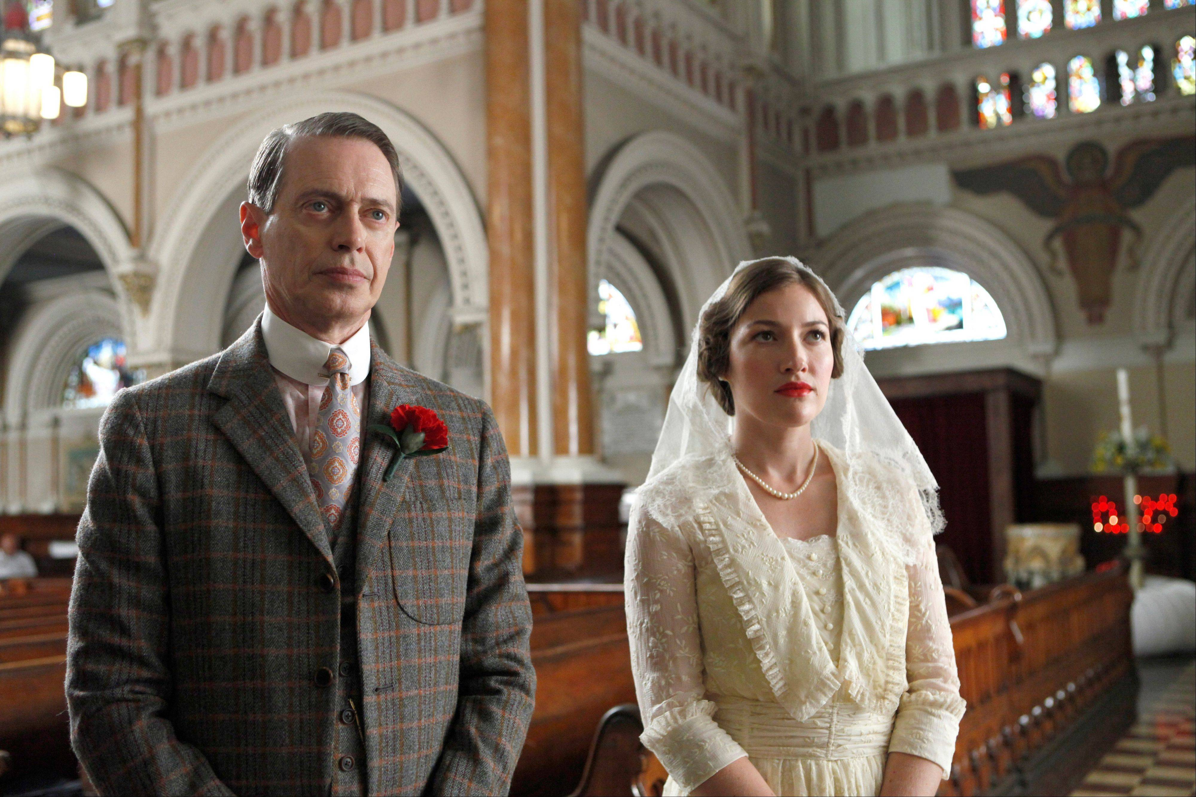 "Steve Buscemi, left, and Kelly Macdonald star in the HBO series, ""Boardwalk Empire,"" which was nominated for an Emmy award for outstanding drama series."