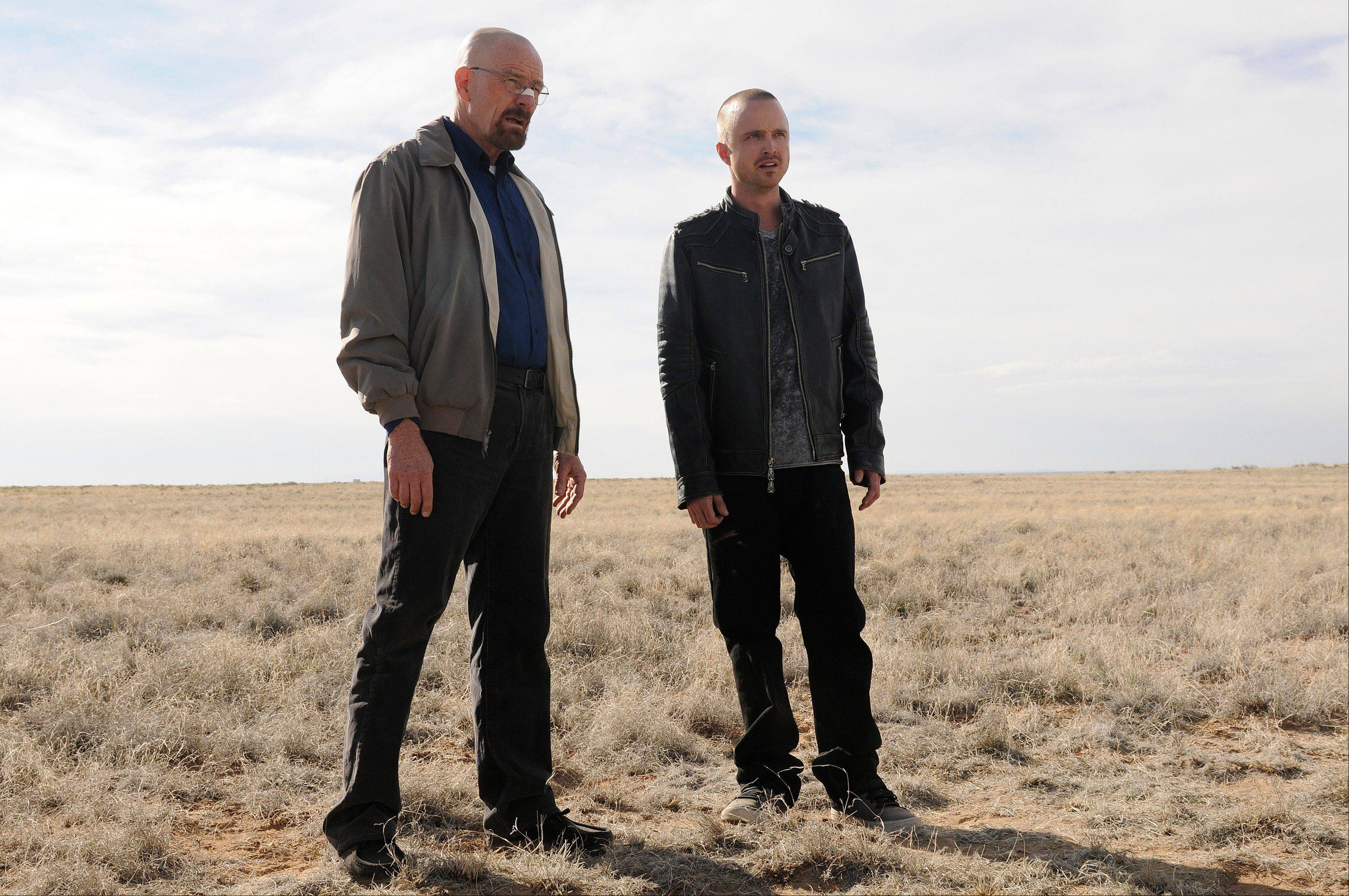 "Bryan Cranston as Walter White, left, and Aaron Paul as Jesse Pinkman in ""Breaking Bad."" The program was nominated for an Emmy award for outstanding drama series on Thursday."
