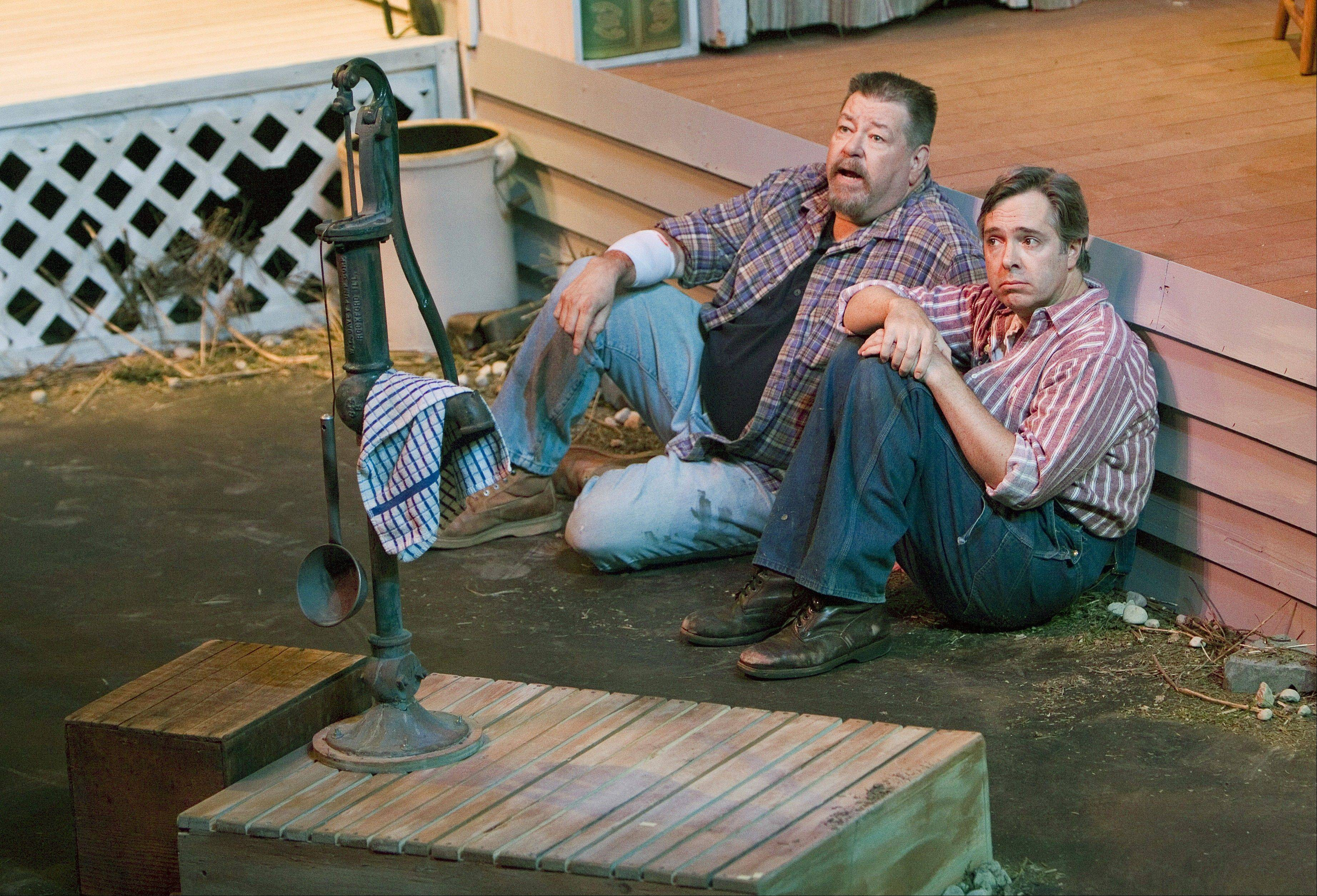 "Friends Morgan (Jonathan Kraft) and Angus (Robert Jordan Bailey) reminisce about times past in Buffalo Theatre Ensemble's production of Michael Healey's comic drama ""The Drawer Boy"" at College of DuPage's McAninch Arts Center."