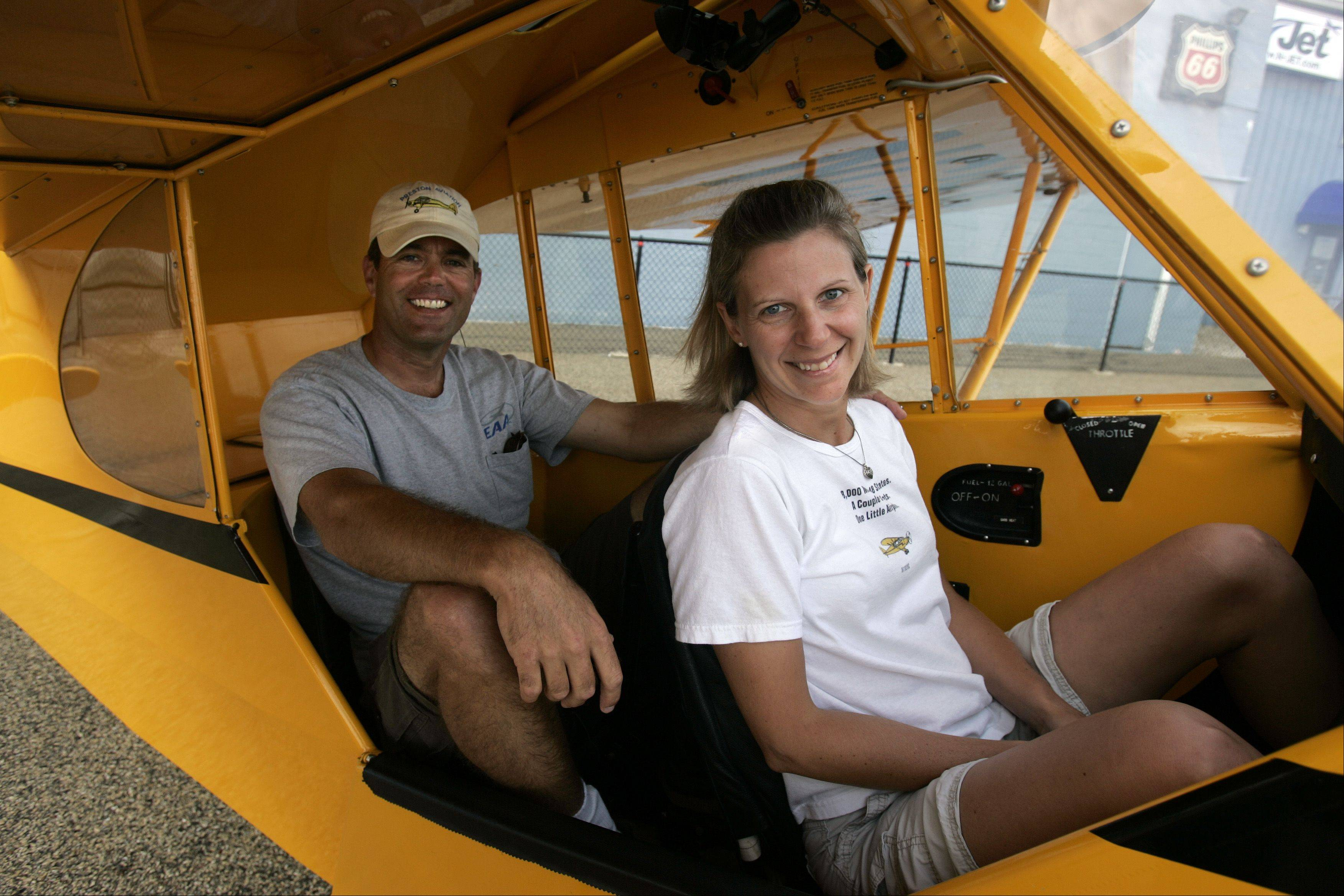 Former Island Lake resident Dana Holladay and his wife, Meredith Tcherniavsky, both flight instructors, live in Maryland and are flying their 1938 Piper J-3 Cub on a mission to touch down in 48 states by Labor Day.