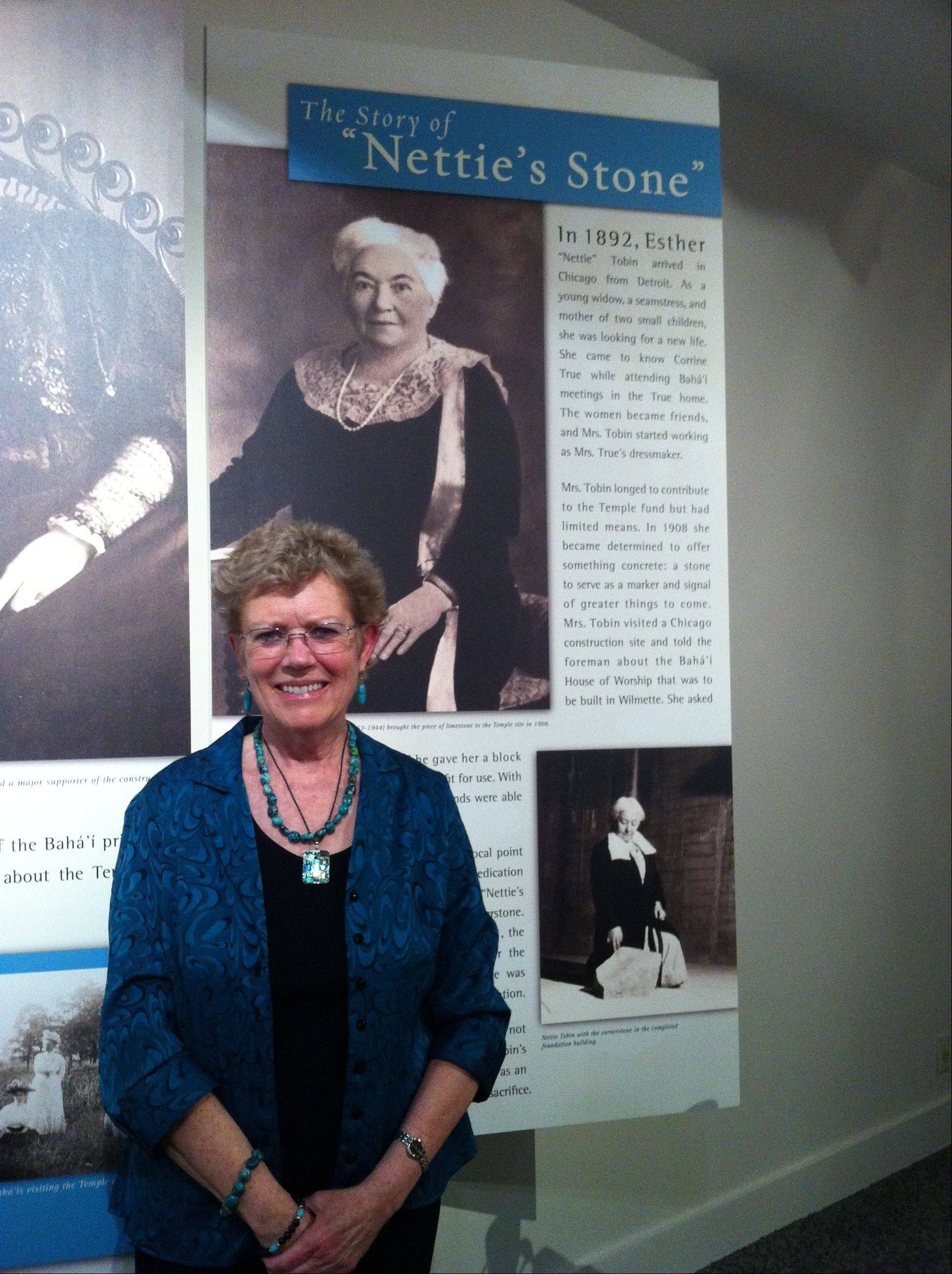 Barbara Tobin of Palatine visits the exhibit honoring her great-grandmother, Nettie Tobin, at the Baha'i Temple in Wilmette.