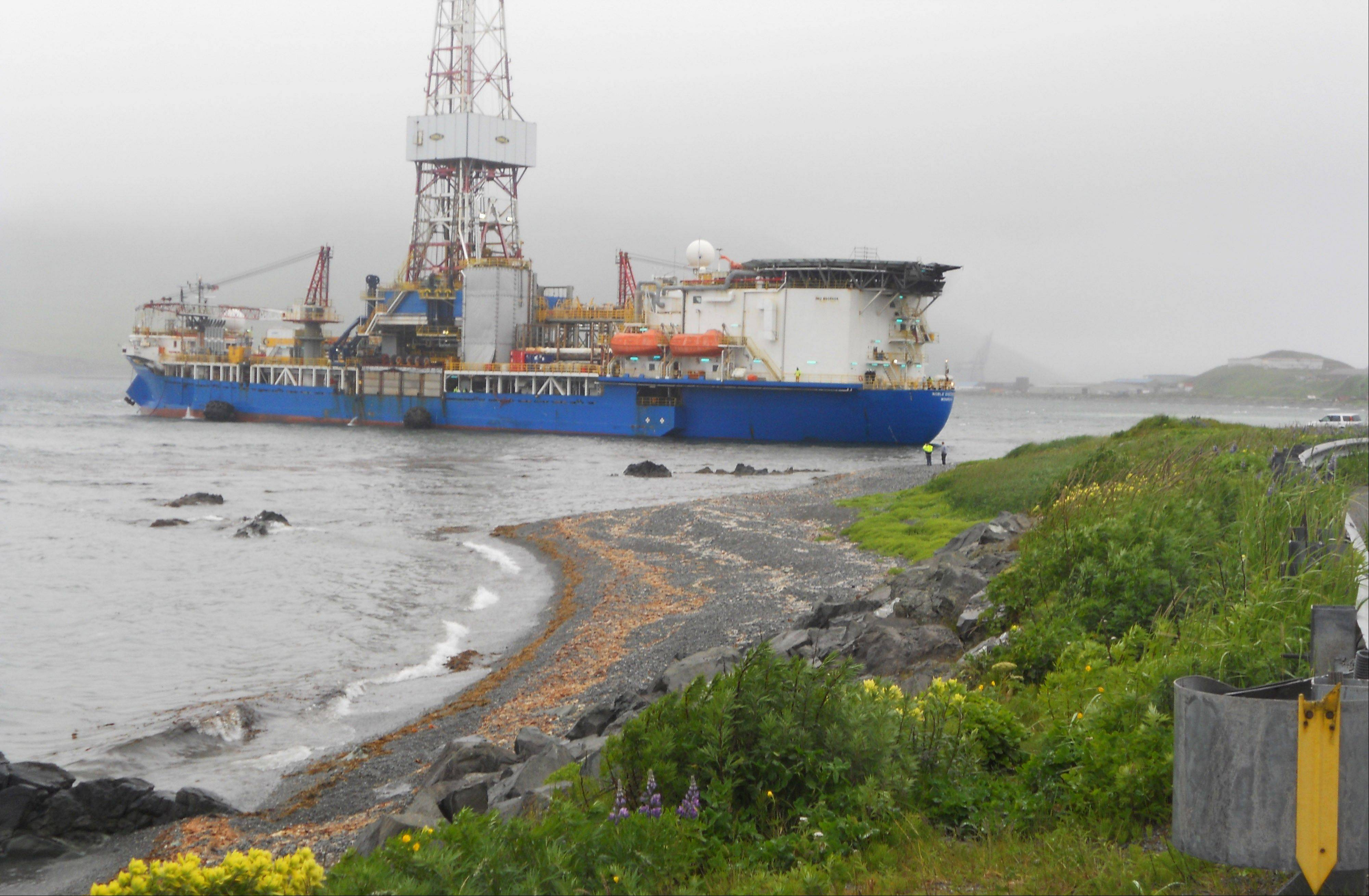 Associated Press/July 14, 2012, courtesy of Capt. Kristjan B. Laxfoss A Shell drilling ship drifts toward shore near Dutch Harbor on Unalaska Island, Alaska. The Coast Guard says an inspection of the Shell drilling ship that lost its mooring shows no signs of damage or grounding.