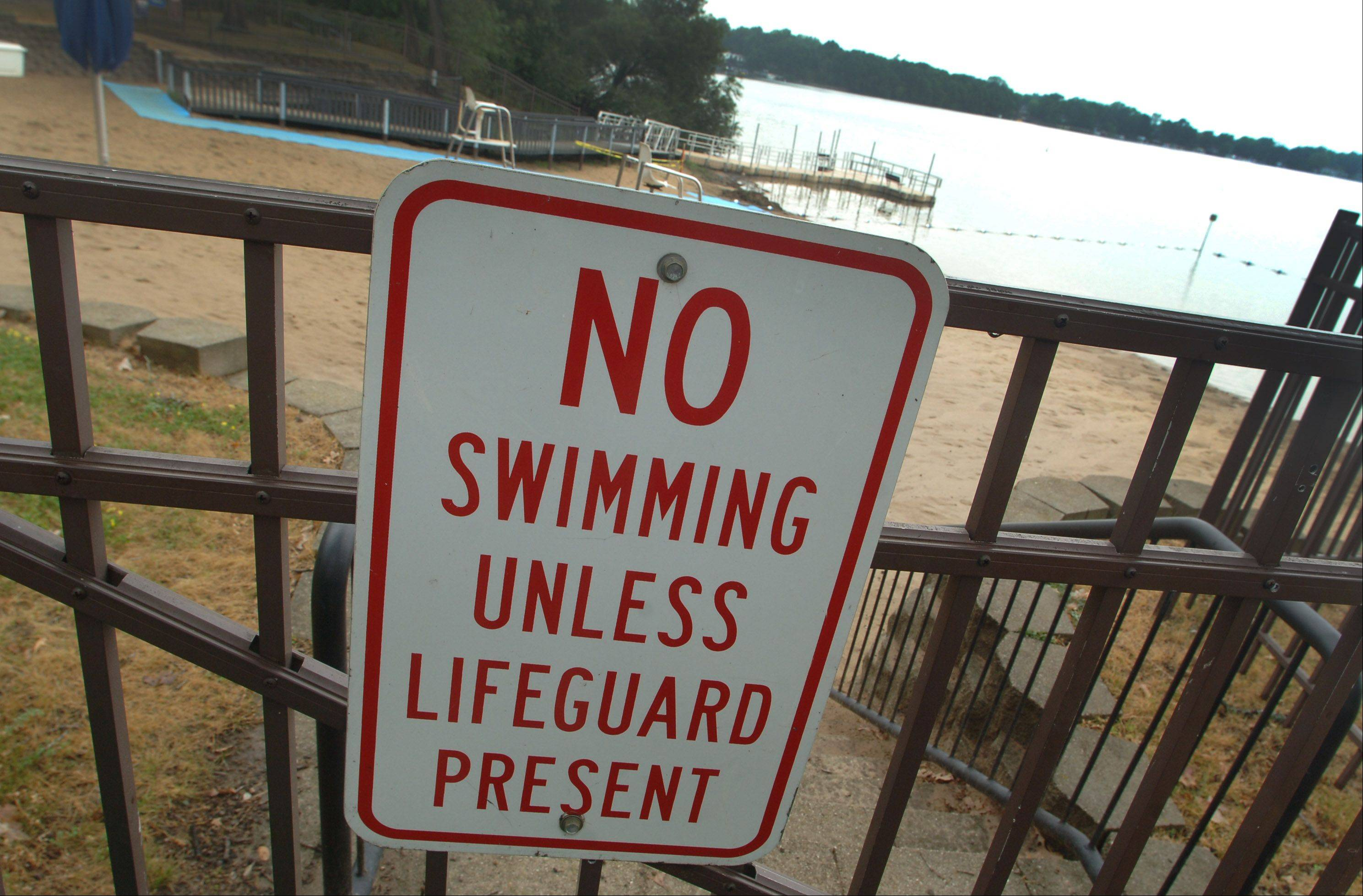 Swimmers are not allowed to hit the water at Breezewald Beach in Lake Zurich without a lifeguard on duty.