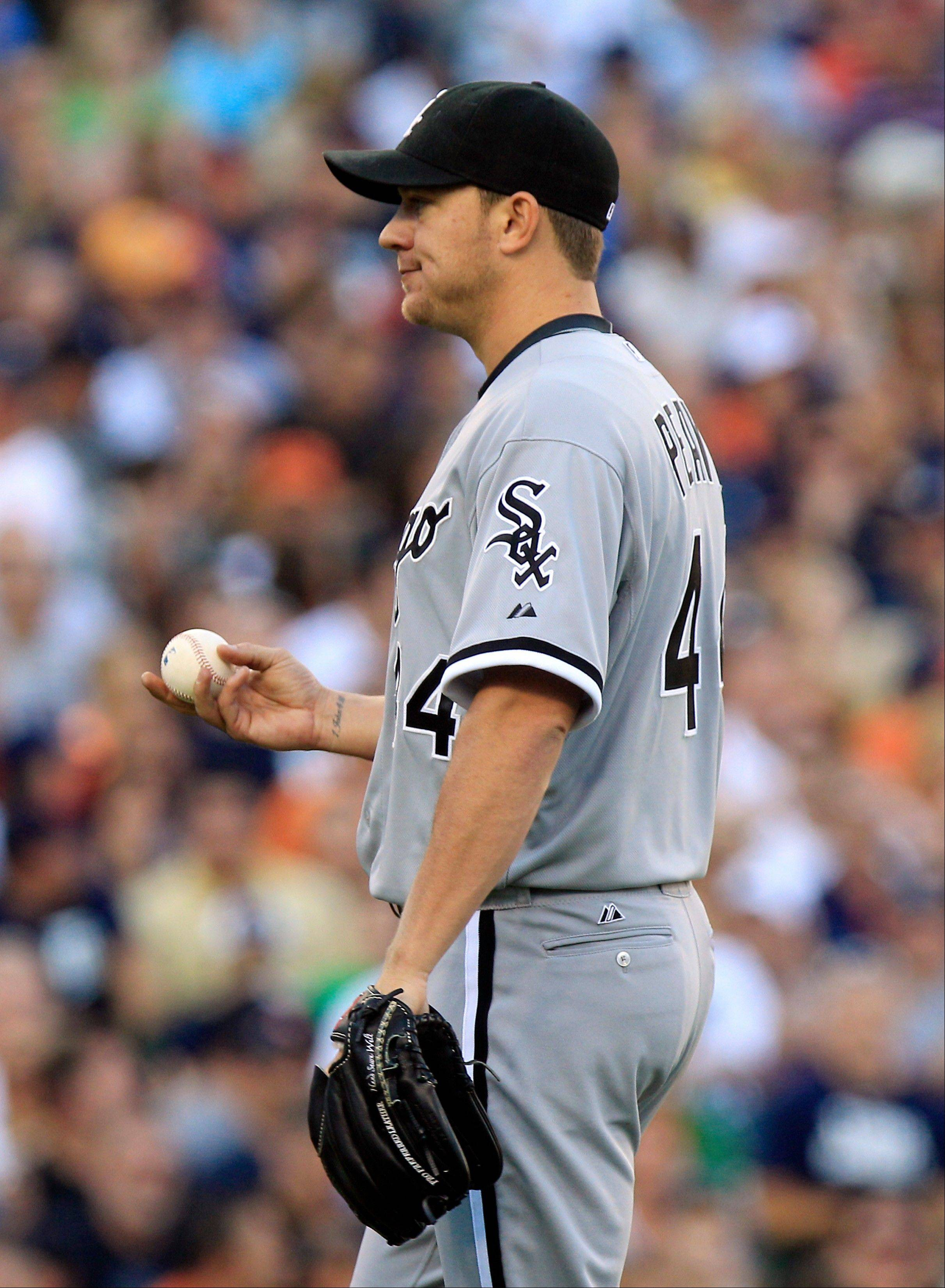 White Sox starting pitcher Jake Peavy reacts after hitting Detroit Tigers� Quintin Berry during Friday�s third inning in Detroit.
