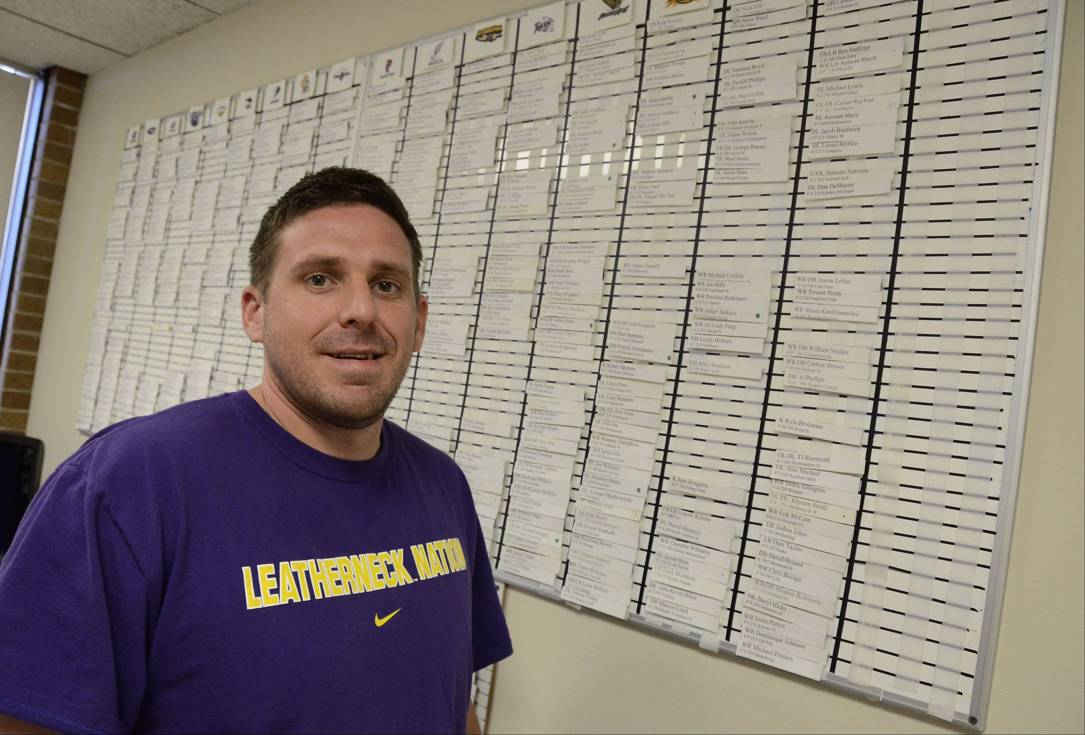 Scott Bailey, Chicago Rush director of Player Personnel / Special Teams coach & coordinator, keeps boards in his office with names of potential football players. He has to find several each week to fill out the team's roster.