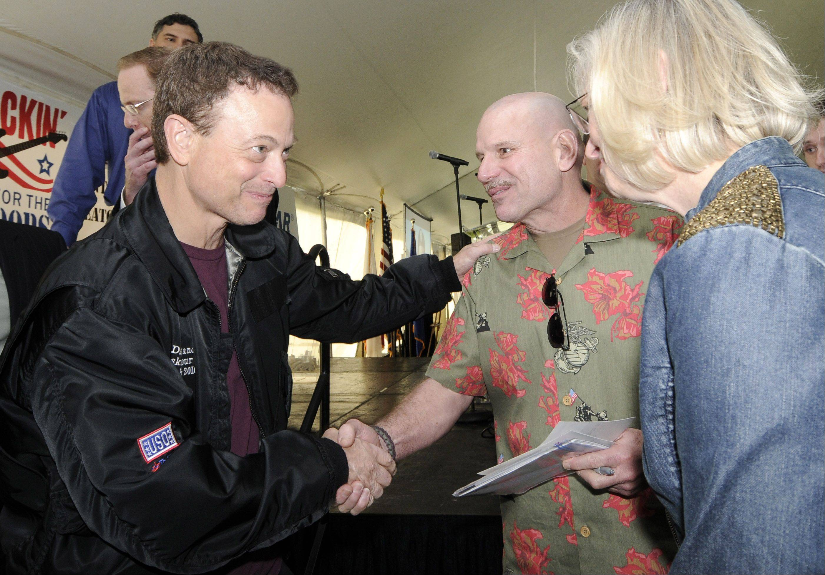 While on tour, Gary Sinise strives to meet active and retired servicemen and women and their families to express his support personally as well as through performances by his Lt. Dan Band.