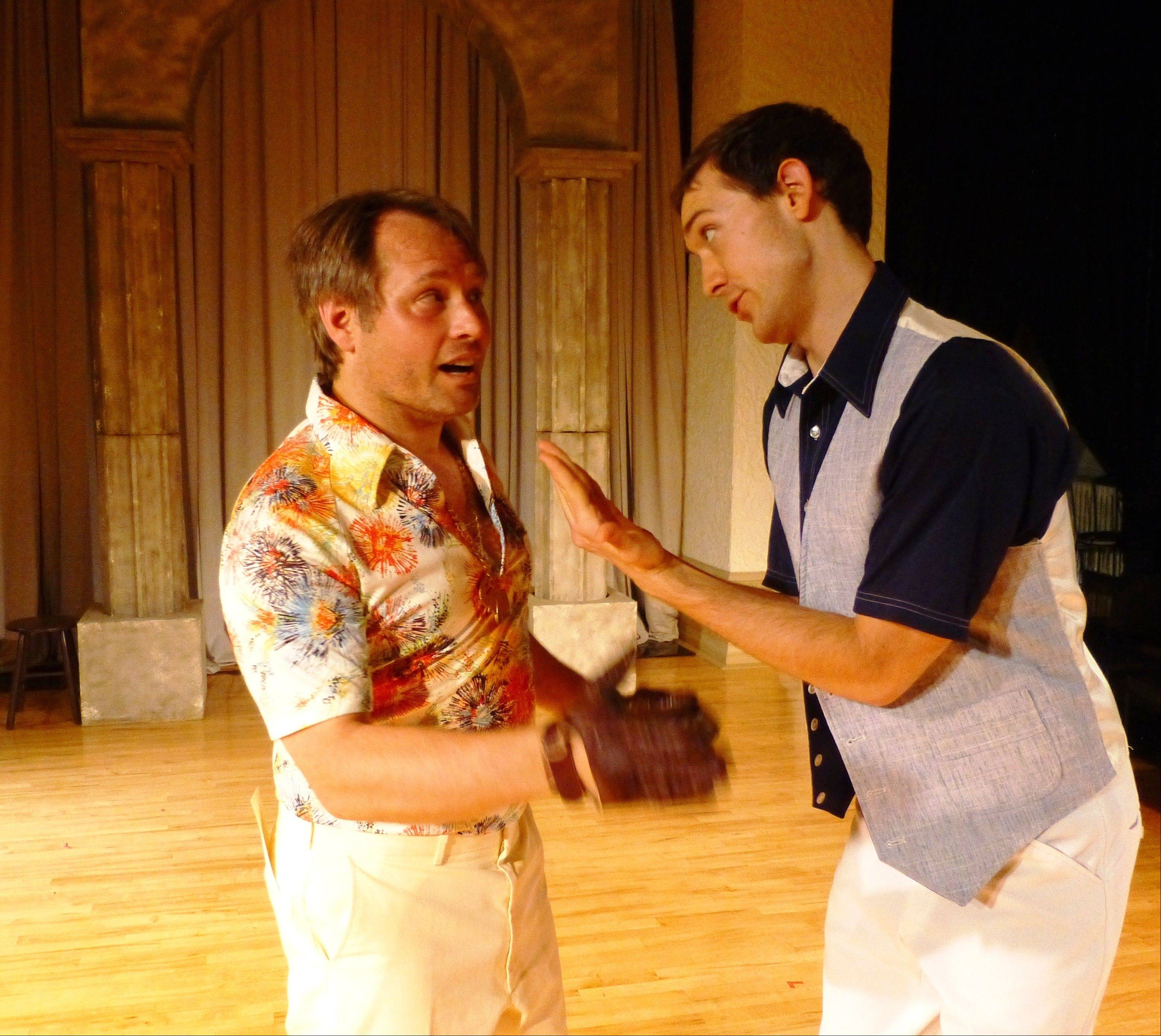 "The savvy servant Speed (David Russell, right) counsels his clueless master Valentine (Dean Gallagher) in ""The Two Gentlemen of Verona,"" running in repertory with ""Pride and Prejudice"" at Elgin's Janus Theater."