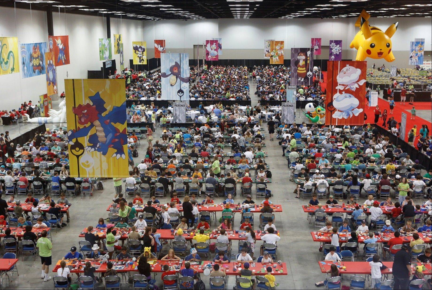 The scene at the Indiana Convention Center during the Pok�mon National Championships in Indianapolis, held June 29-July 1. Des Plaines resident Manoj Sunny emerged from the video game competition as fourth in the nation, earning him a trip to Hawaii next month for the world championships.