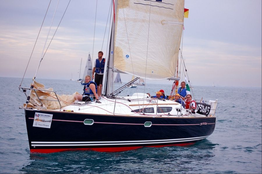 Bob Metzen, of Prospect Heights, and his crew aboard Tide the Knot, during last year's race.