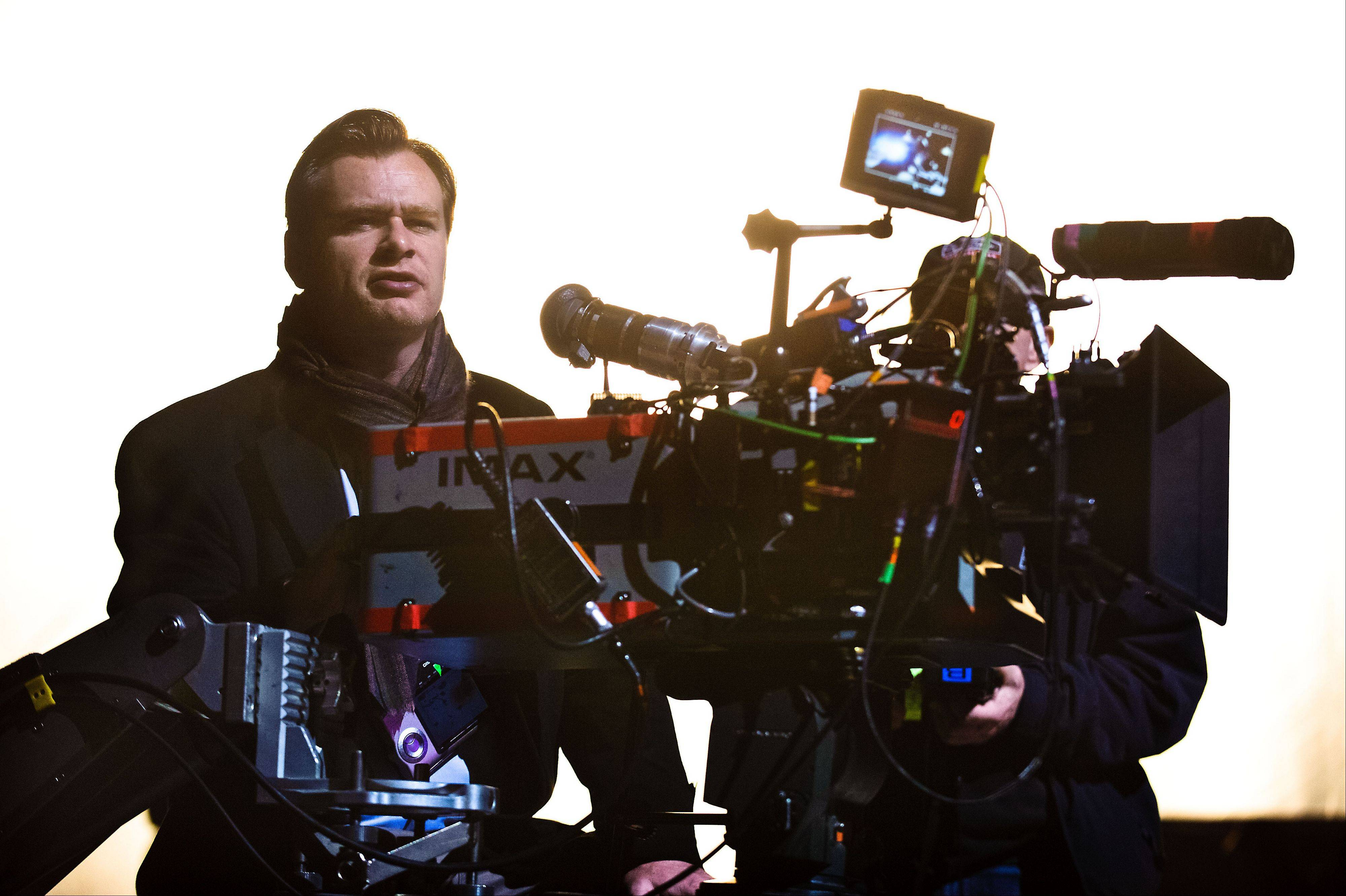 "Associated Press Christopher Nolan on the set of ""The Dark Knight Rises."""