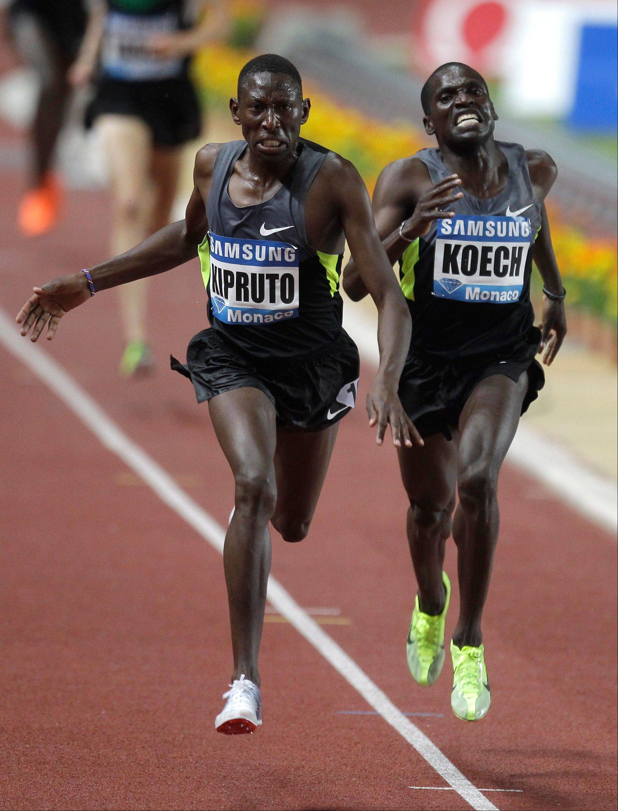 Conselus Kipruto of Kenya wins the 3,000m men's steeplechase in front of Paul Kipsiele Koech of Kenya at the Herculis international athletics meeting Friday at the Louis II Stadium in Monaco. American Evan Jager of Algonquin finished third in that race, breaking the U.S. record and setting the fastest time by an American this year.