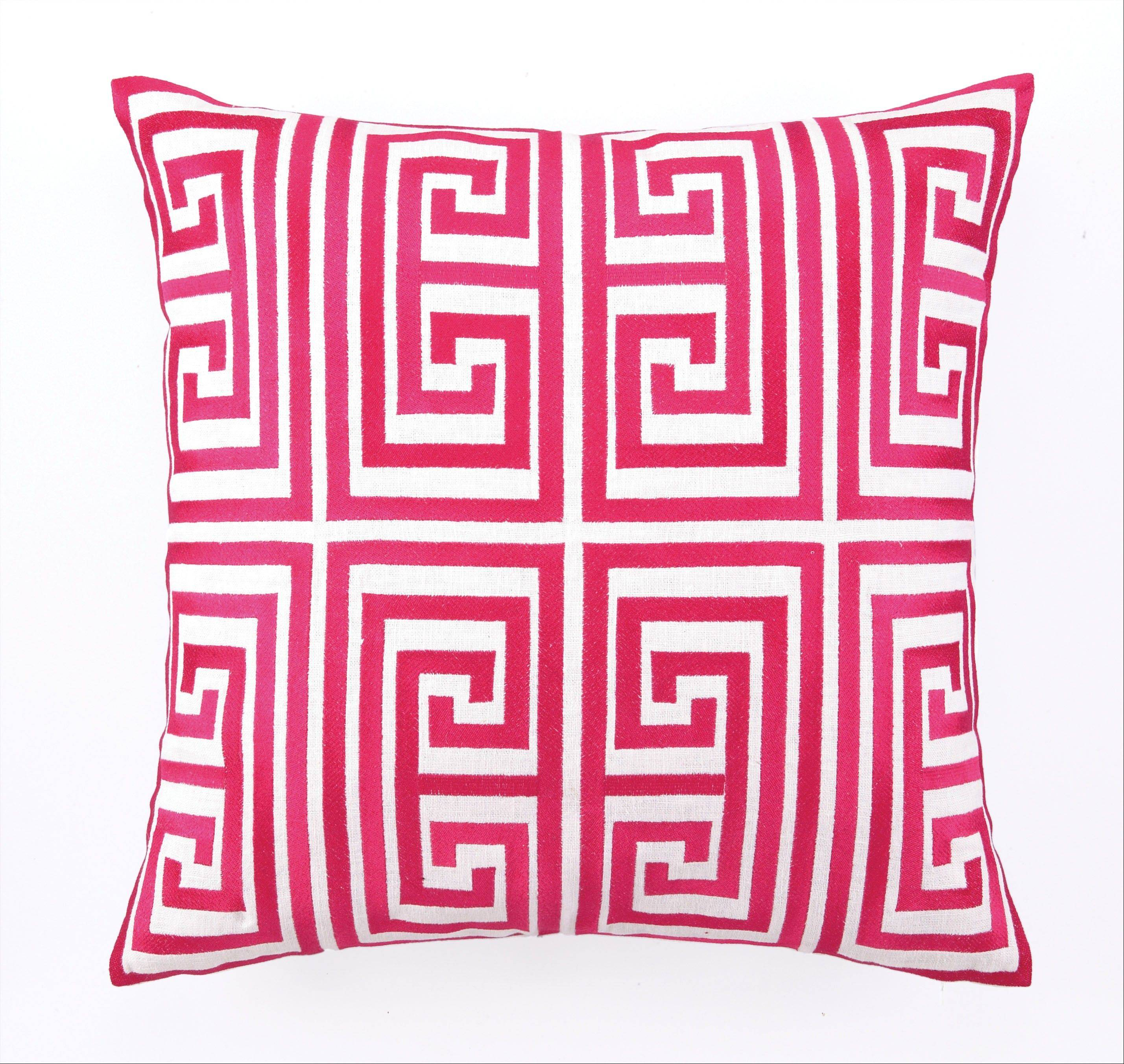 The Greek key pattern has moved out of its safety zone of fabrics and into the world of furniture, such as this Trina Turk pillow.