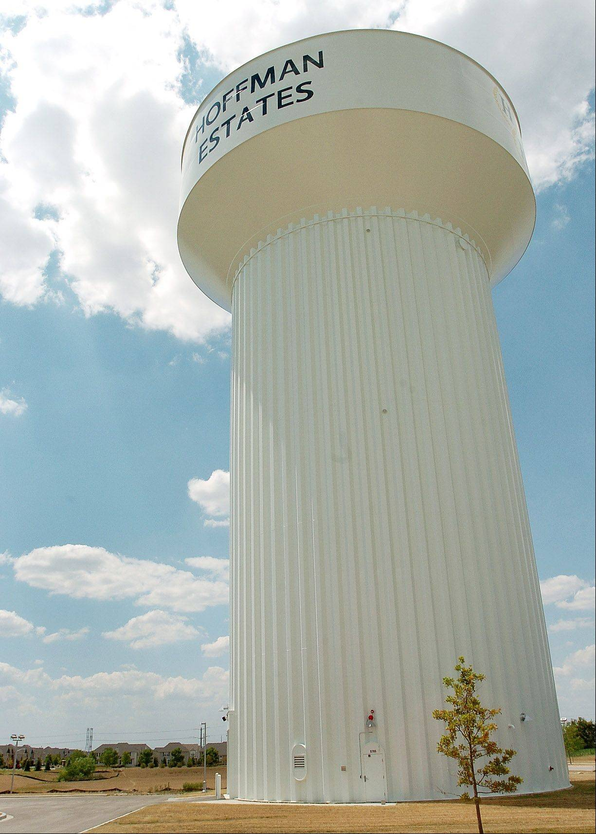 Water tower in Beacon Pointe subdivision in Hoffman Estates.
